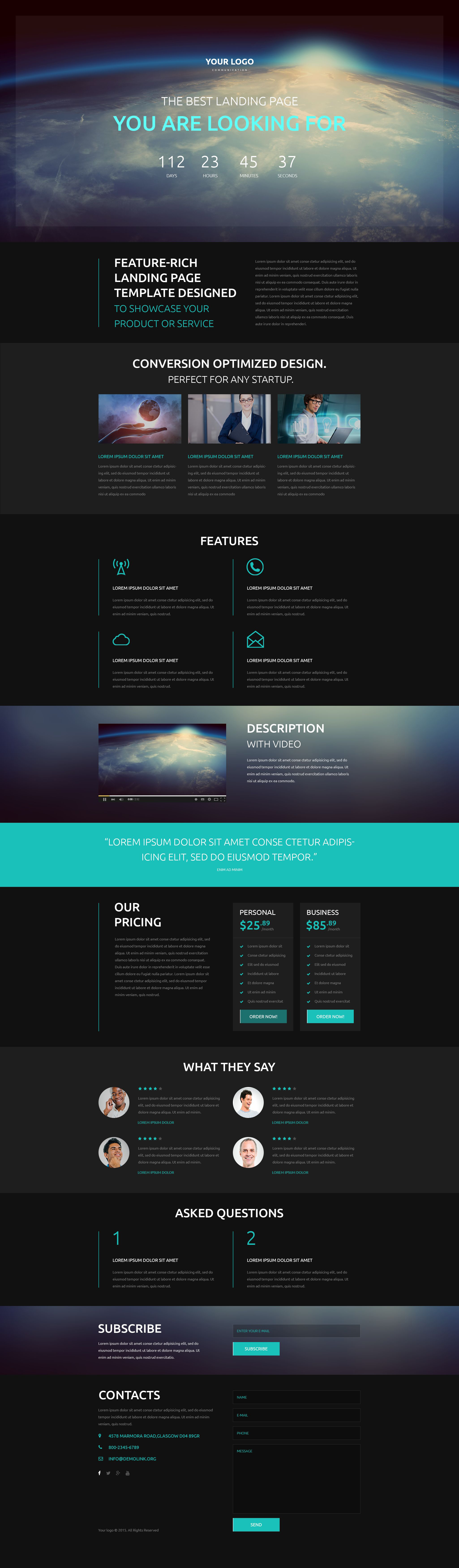 Communications Responsive Landing Page Template - screenshot
