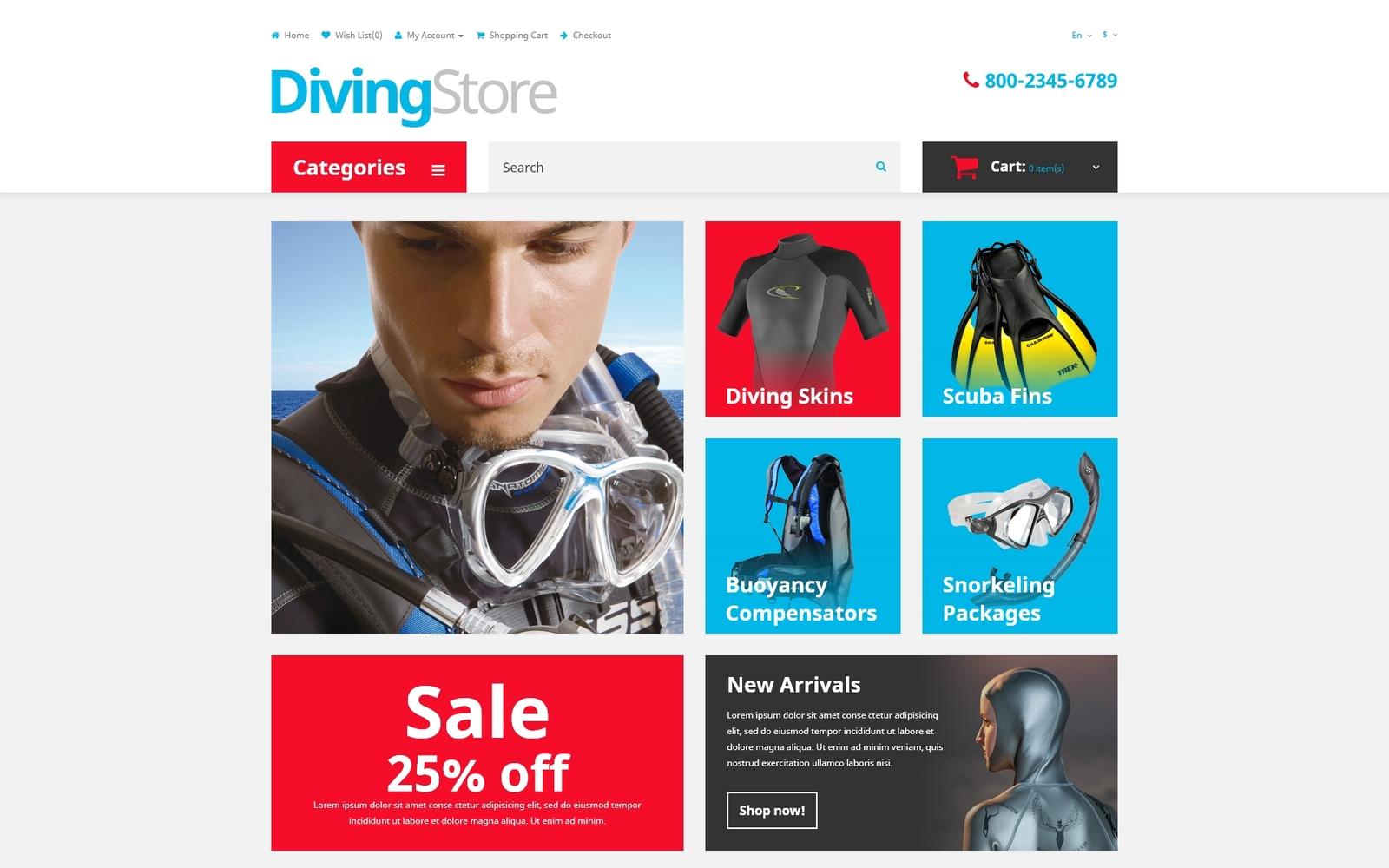 """Diving Shop"" - адаптивний OpenCart шаблон №53552"
