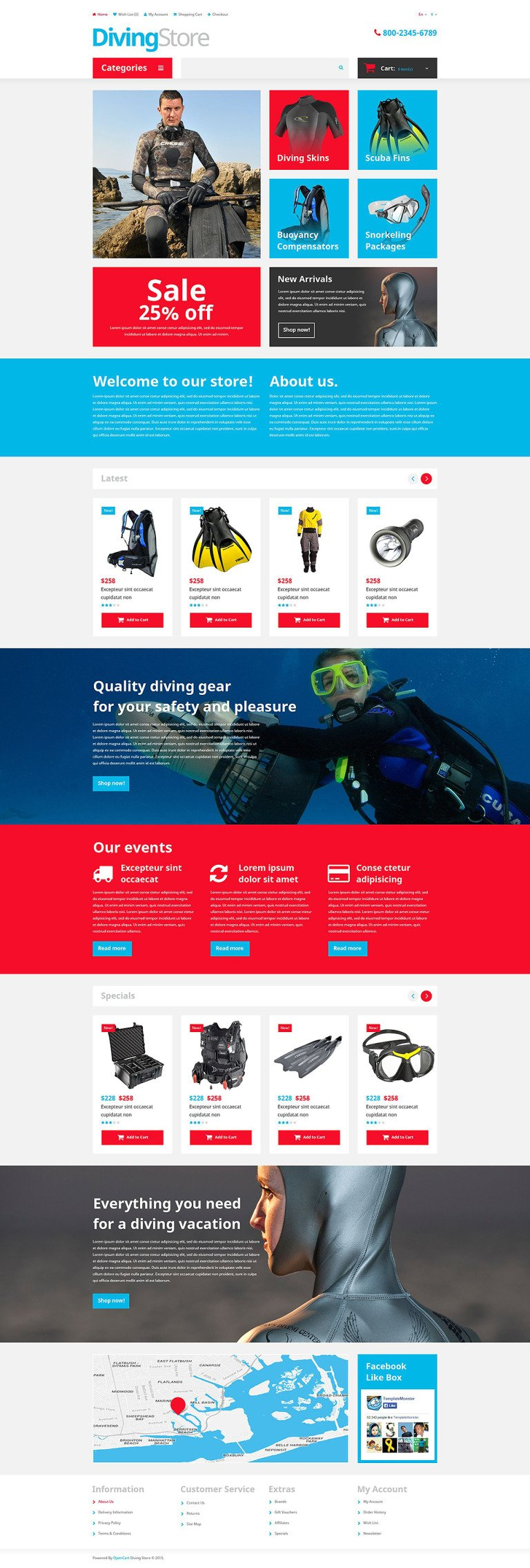 Diving Shop OpenCart Template New Screenshots BIG