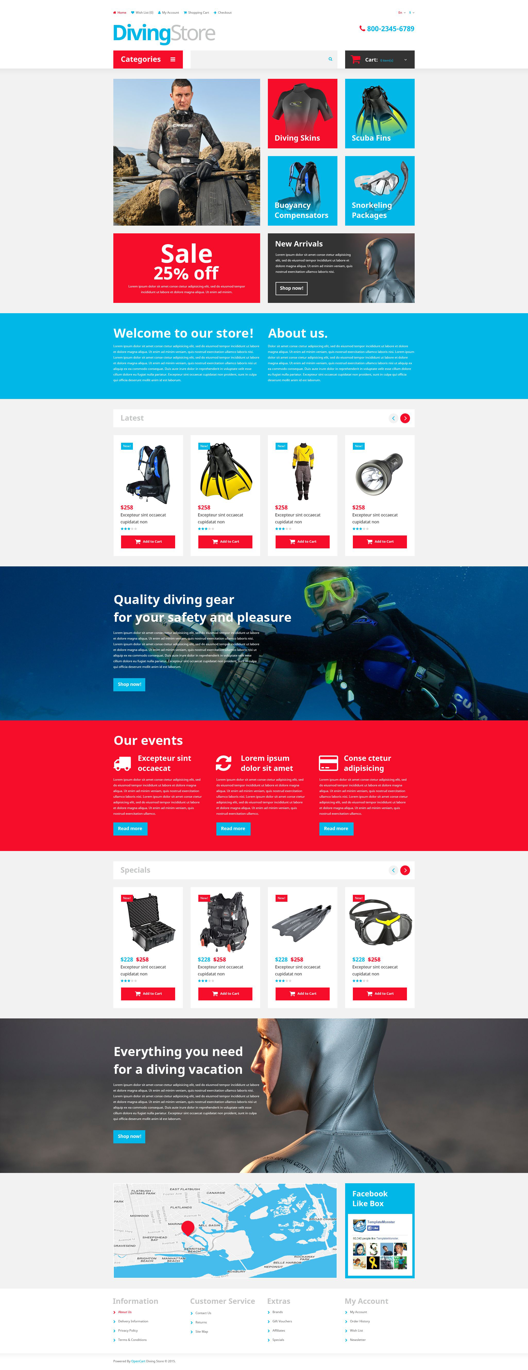 Diving Shop OpenCart Template