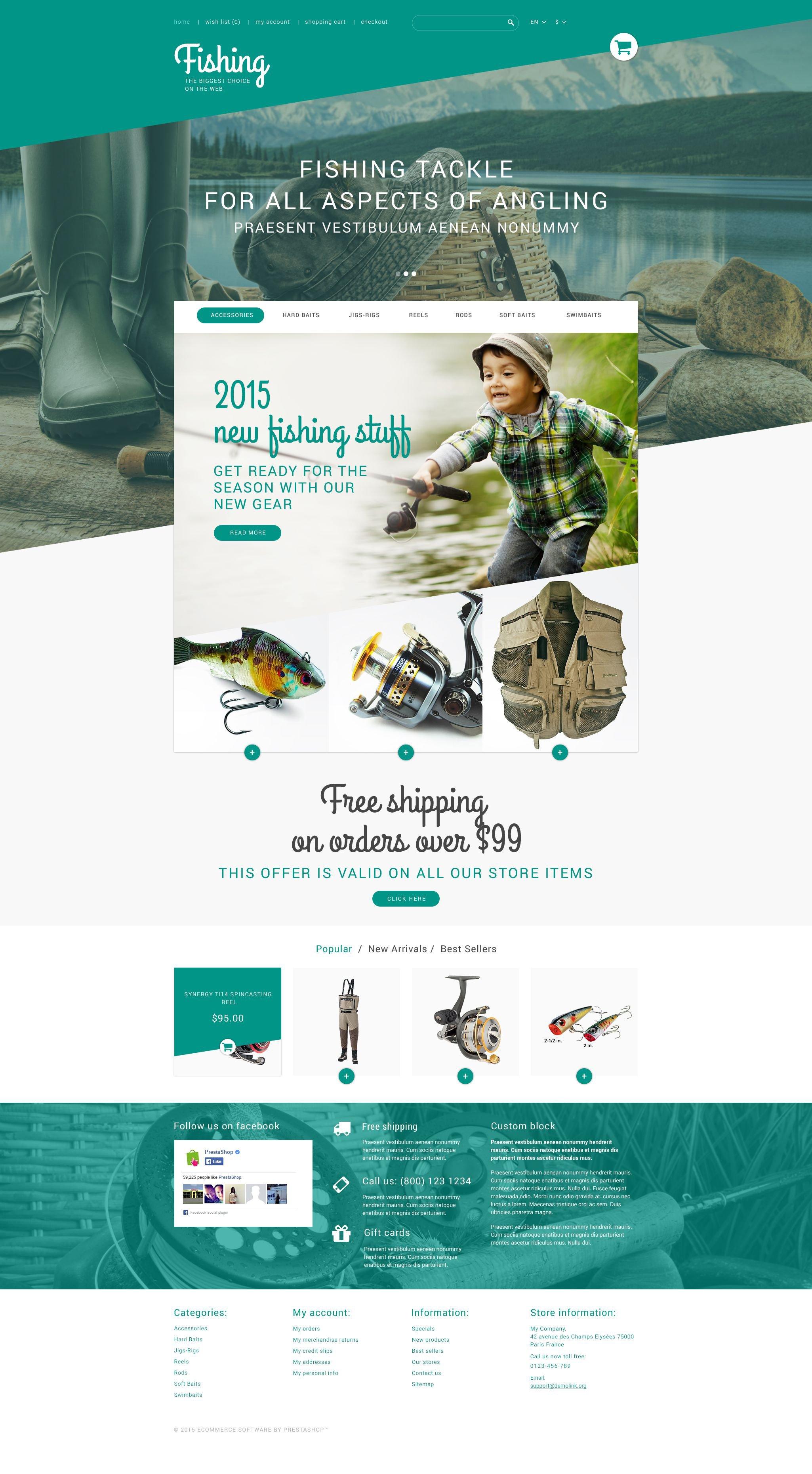 Fishing Store Tema PrestaShop №53546