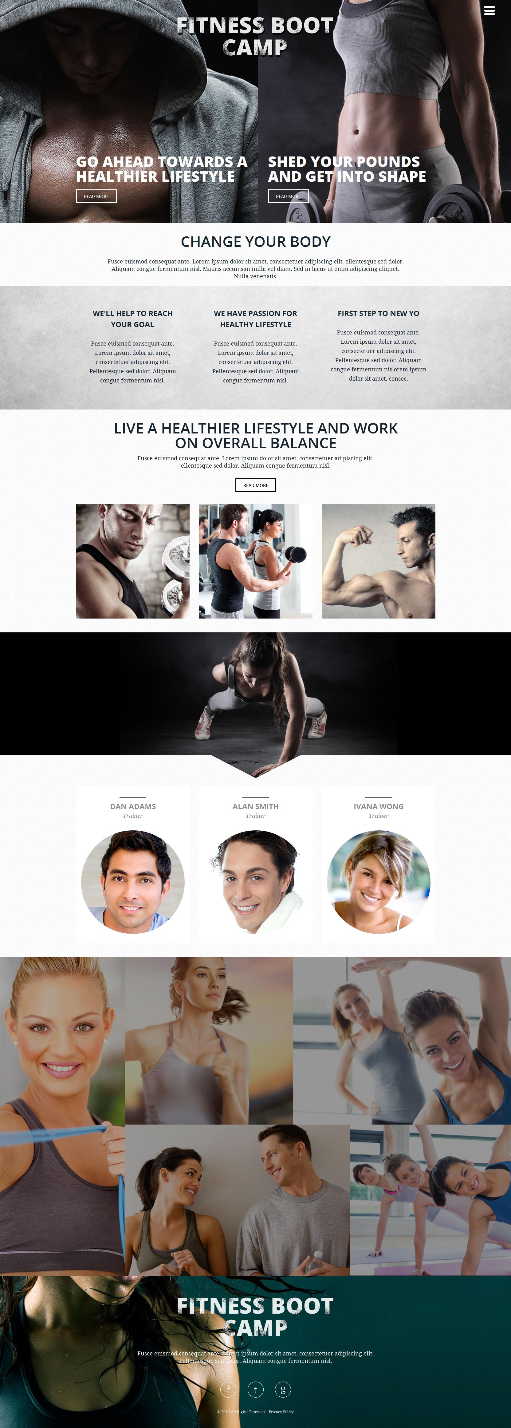 """Fitness Club"" 响应式网页模板 #53542 - 截图"