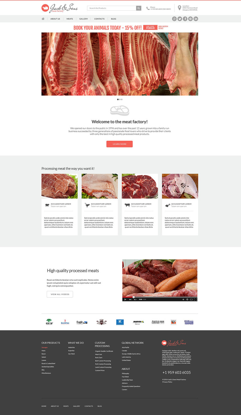 Meat and Steak House Drupal Template New Screenshots BIG
