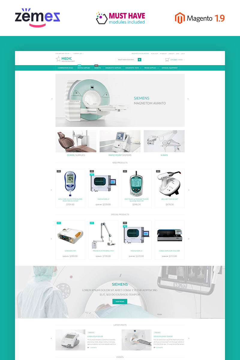 """Medical Equipment"" Responsive Magento Thema №53530"