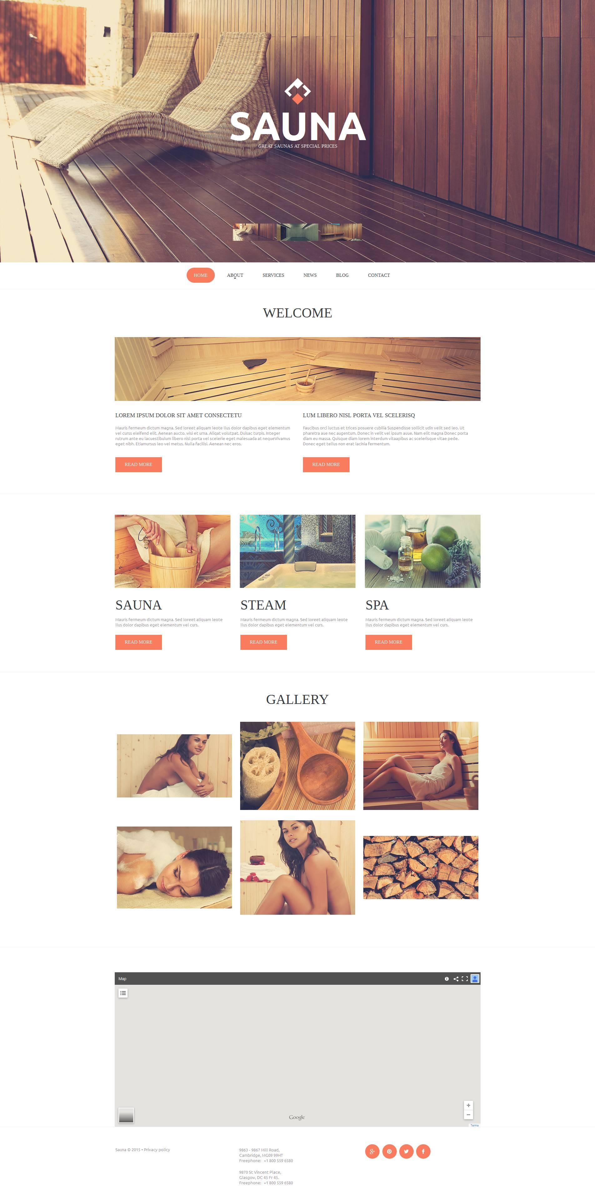 Modèle Moto CMS HTML Premium pour site de sauna #53514