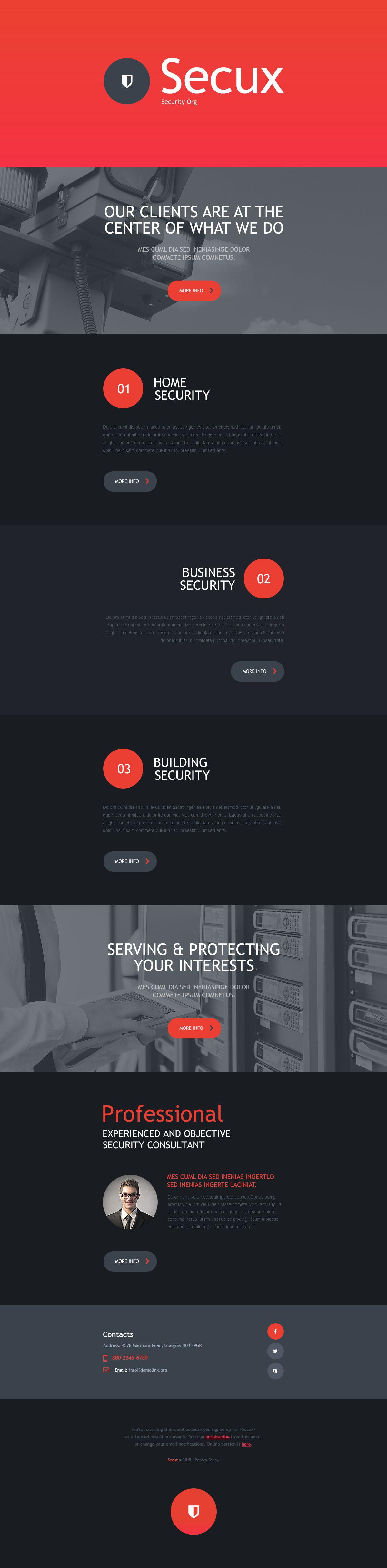 Modello di Newsletter Responsive #53564 per Un Sito di Sicurezza