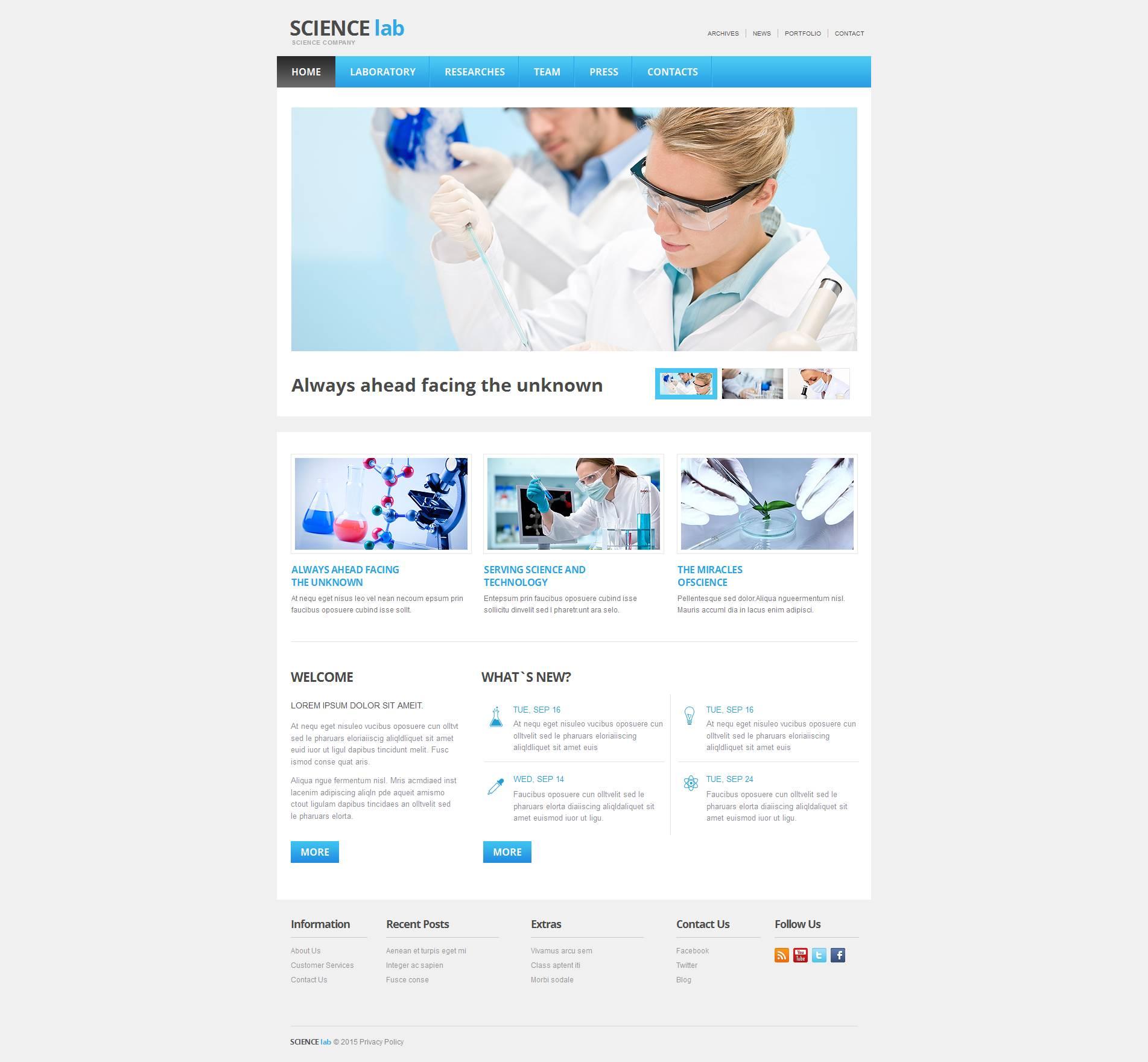 MotoCMS HTML шаблон №53508 на тему научная лаборатория