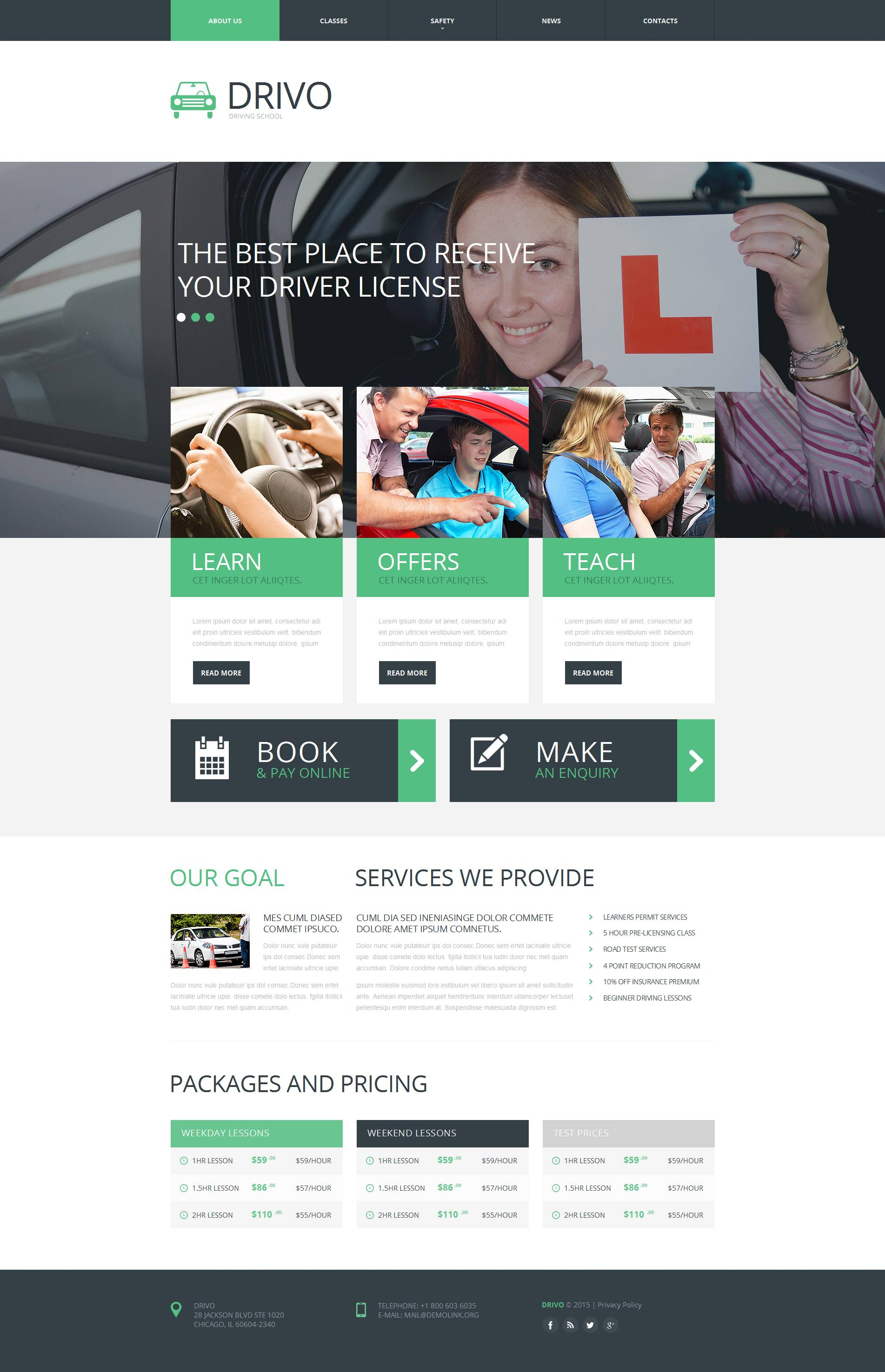 MotoCMS HTML шаблон №53512 на тему школа вождения