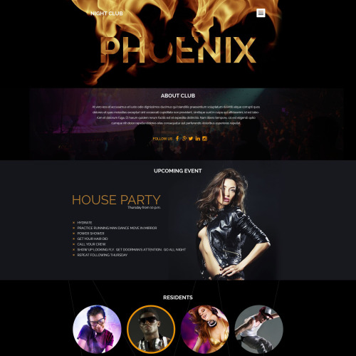 Phoenix Night Club - WordPress Template based on Bootstrap