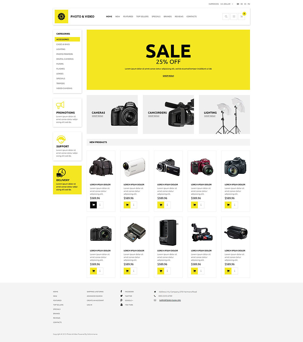 Photo and Video Store OsCommerce Template New Screenshots BIG