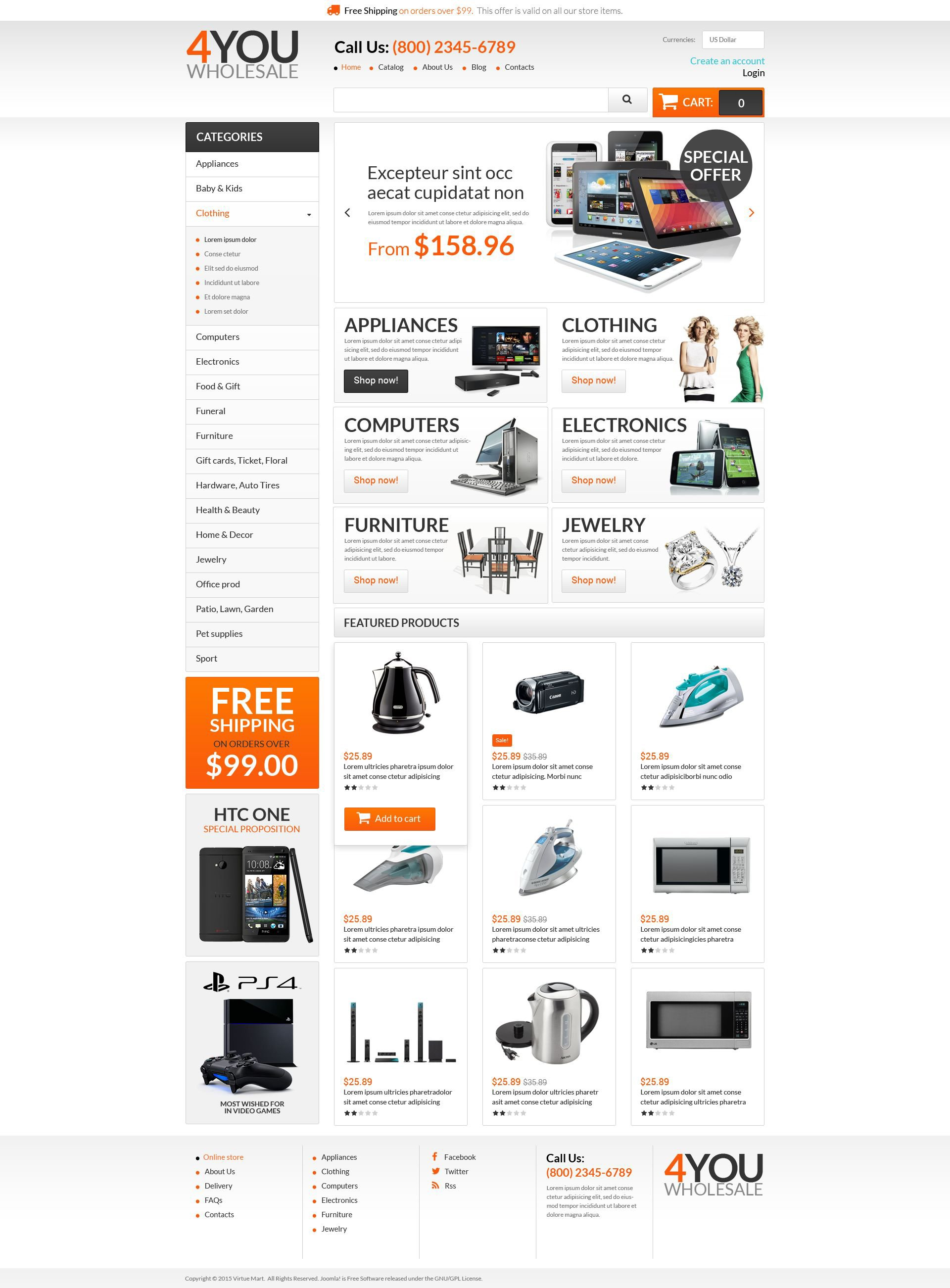 "Plantilla VirtueMart ""Quick Wholesales Boost"" #53547"