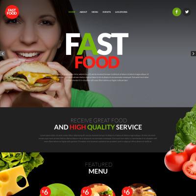 Responsive Plantilla Web #53532 para Sitio de  para Sitio de Restaurantes de comida rápida
