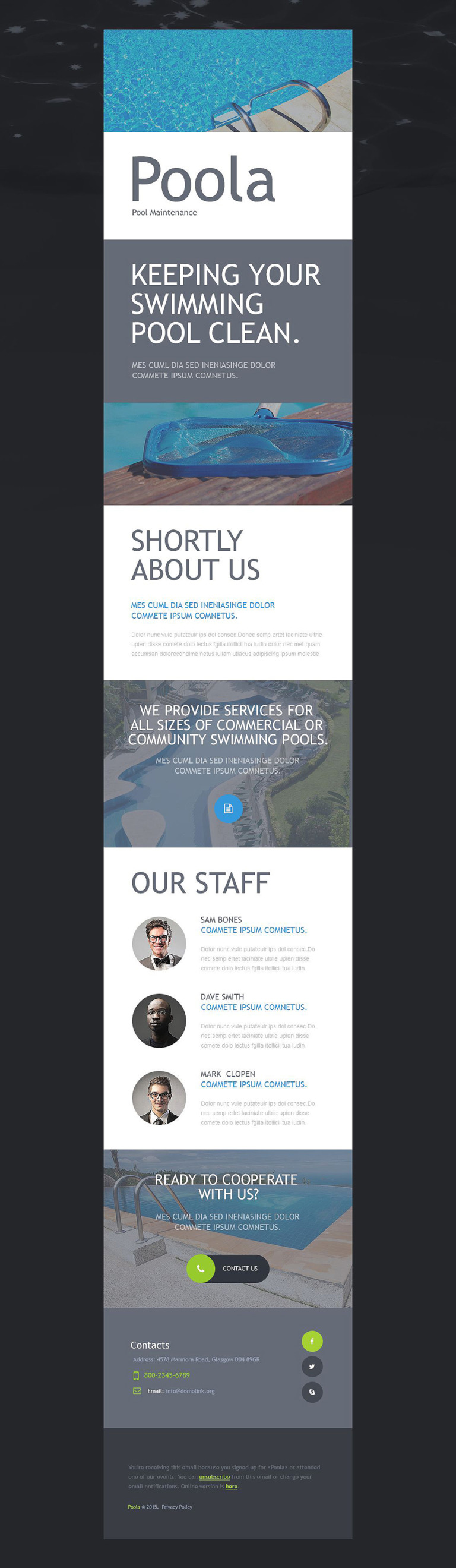 Pool Cleaning Responsive Newsletter Template New Screenshots BIG