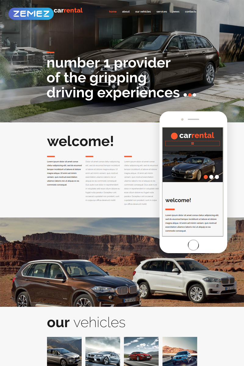 """""""Rental Cars"""" thème Joomla adaptatif #53548"""