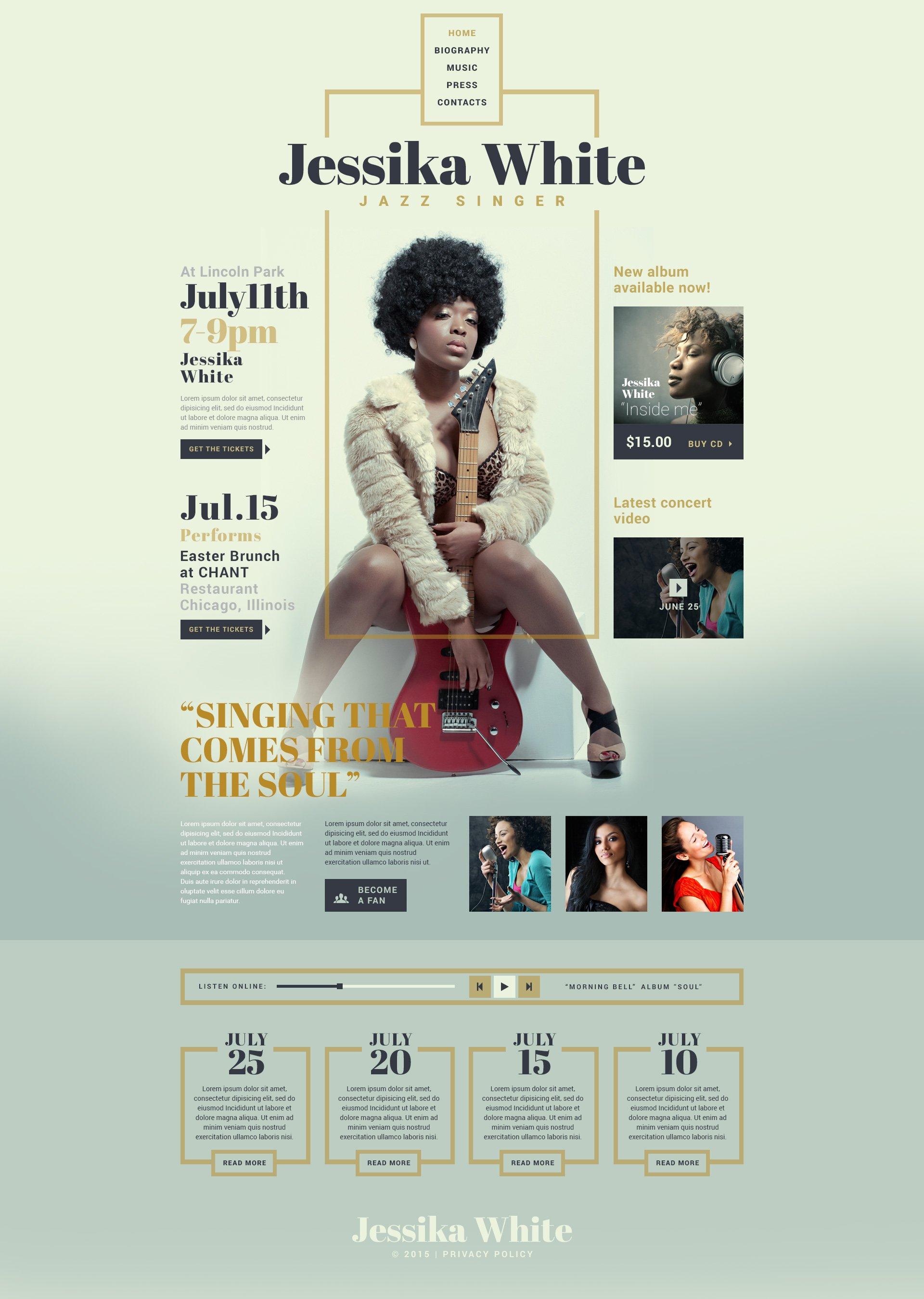 Responsive Website Vorlage für Sänger Homepage #53536