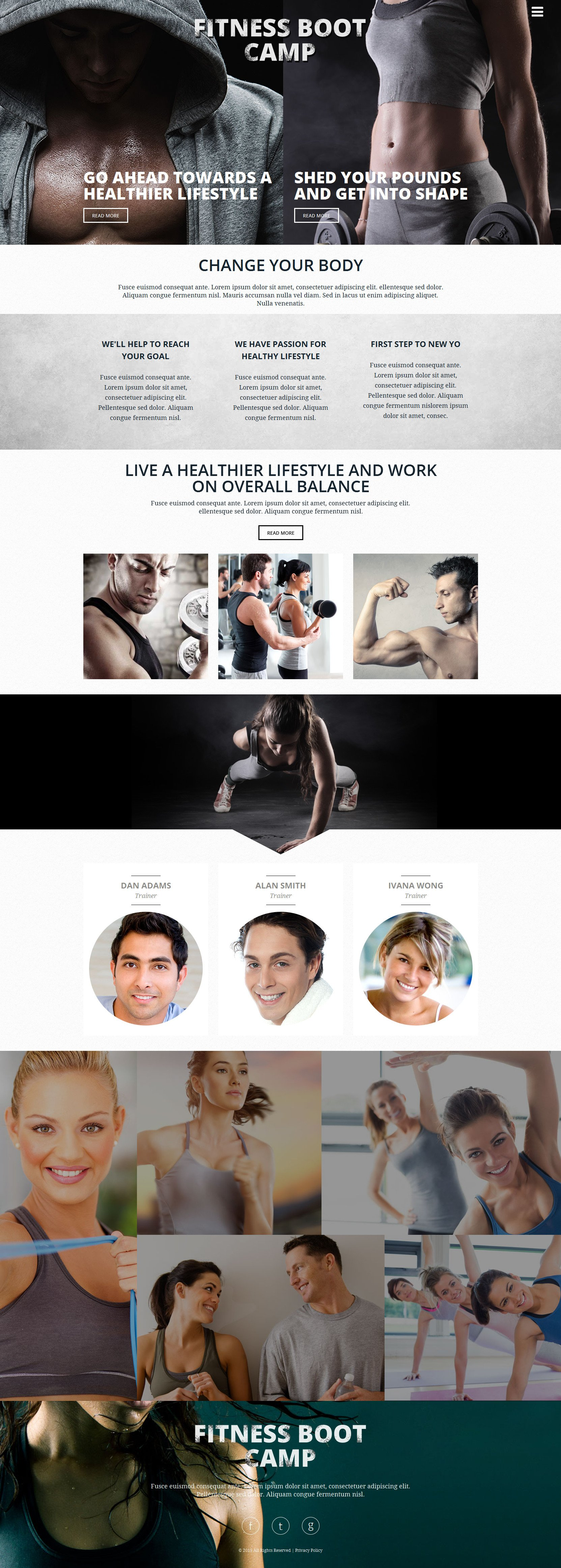 Responsivt Fitness Club Hemsidemall #53542 - skärmbild