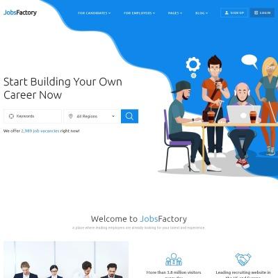 Responsywny szablon strony www JobsFactory - Job Portal Multipage HTML5 #53534 #53534
