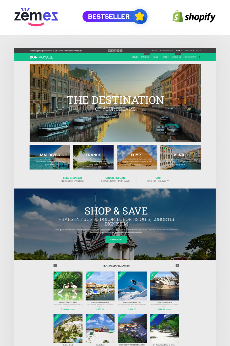 Reszponzív Bon Voyage Shopify sablon 53571