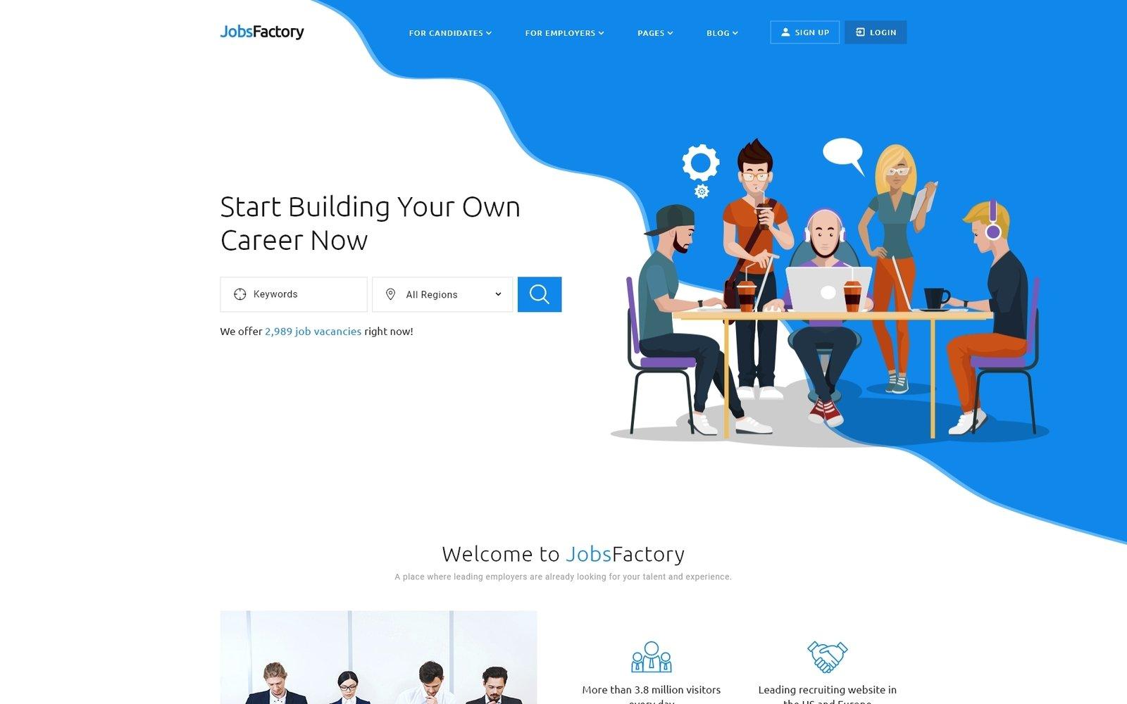 Reszponzív JobsFactory - Job Portal Multipage HTML5 Weboldal sablon 53534