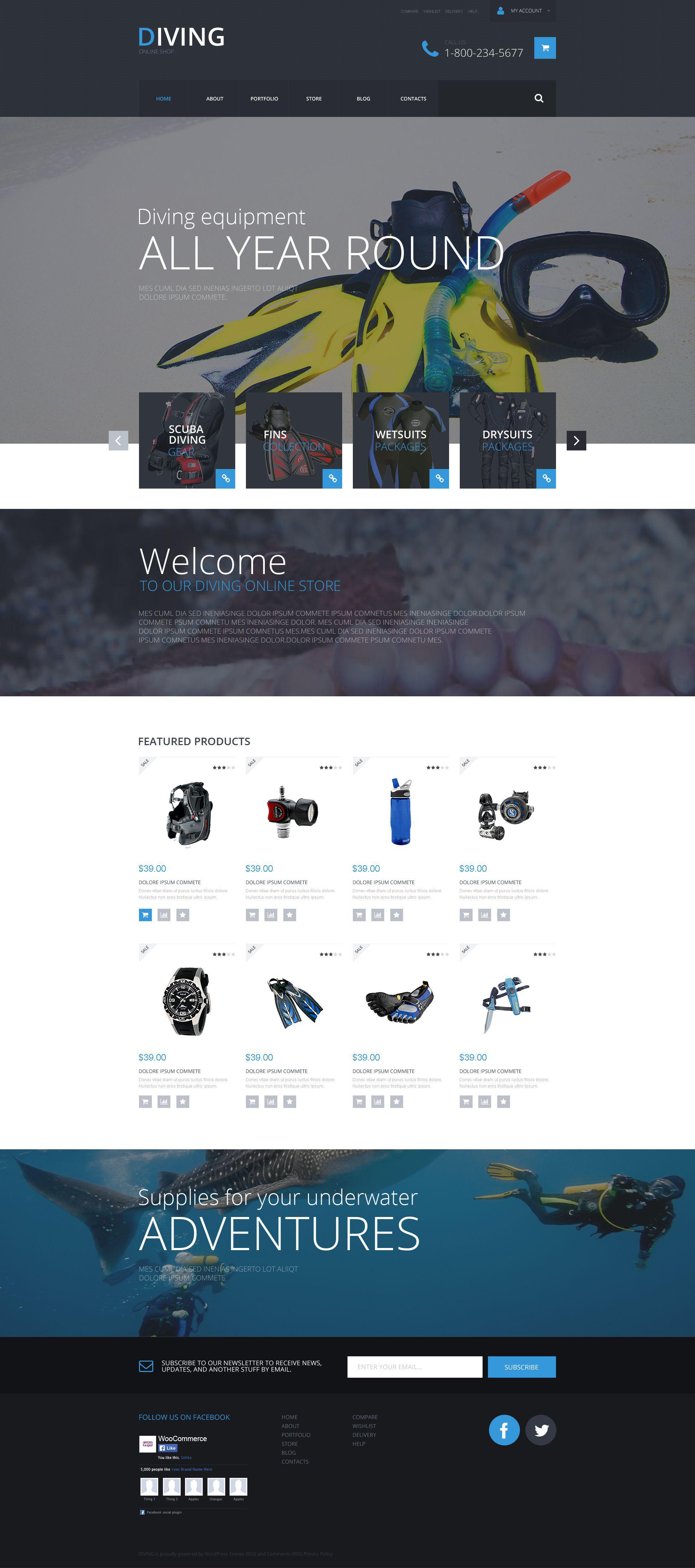 Reszponzív Sports Shop WooCommerce sablon 53544 - képernyőkép