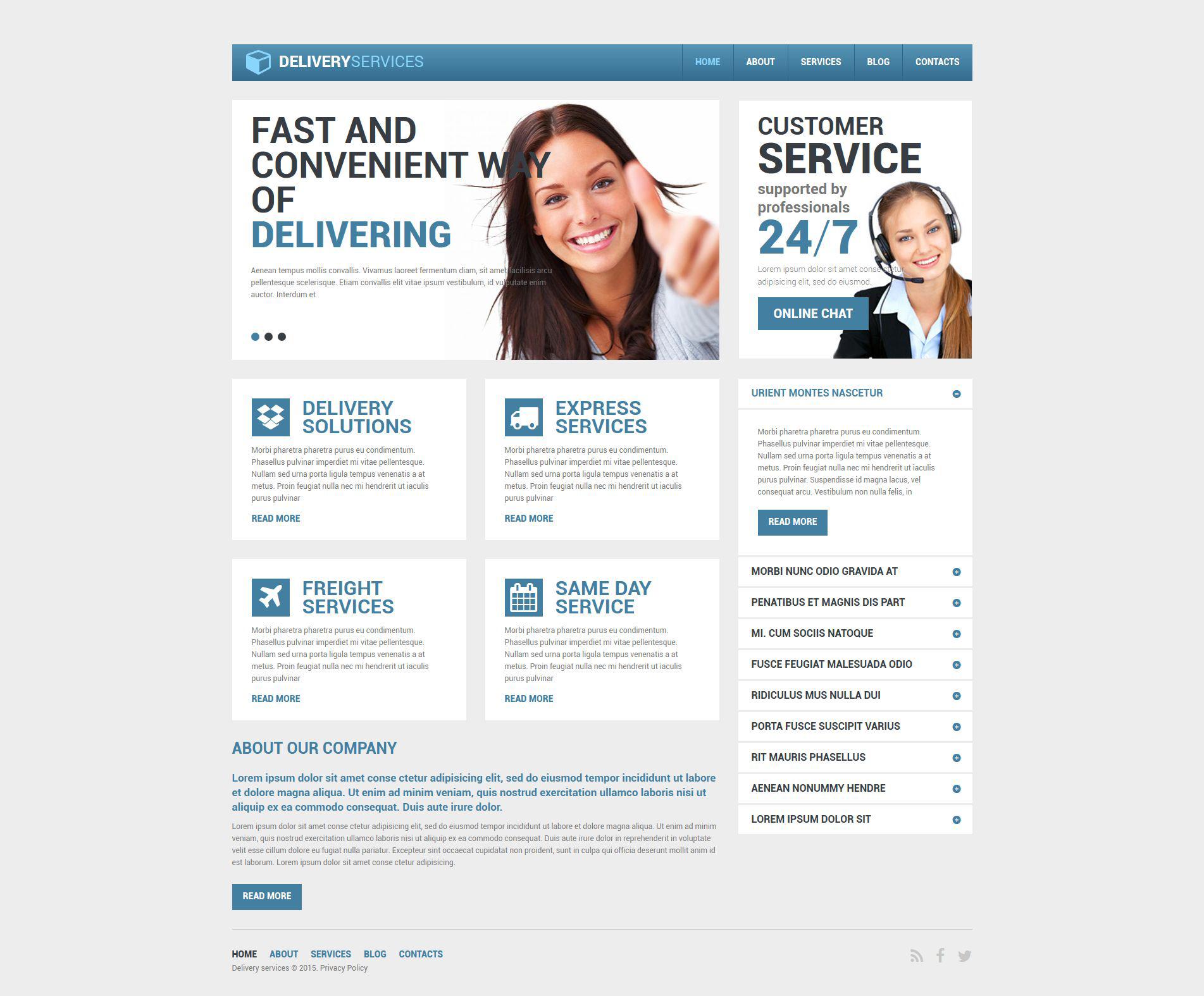 Reszponzív Szállítási szolgáltatások témakörű Drupal sablon 53556