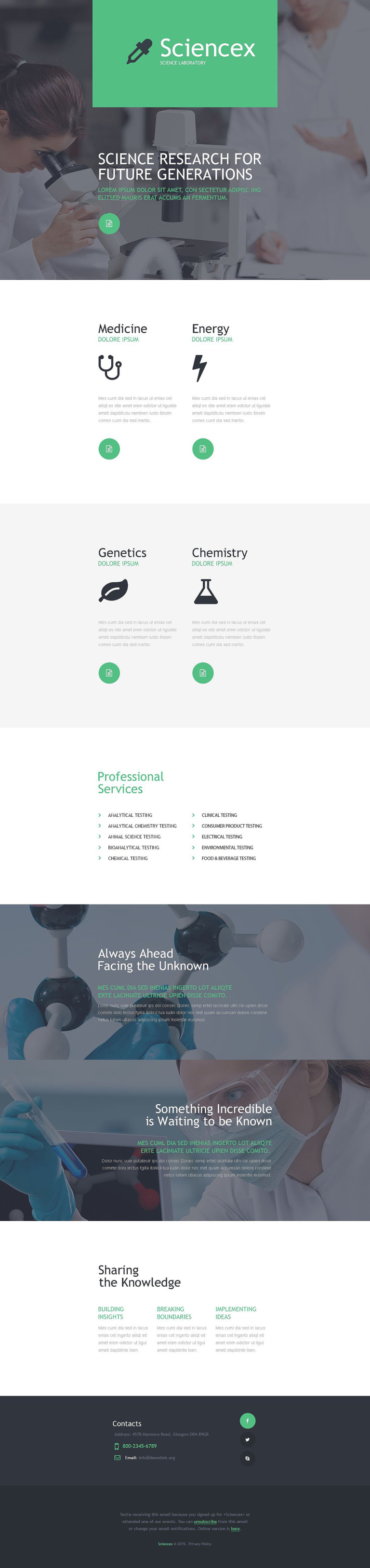Science Lab Responsive Newsletter Template New Screenshots BIG