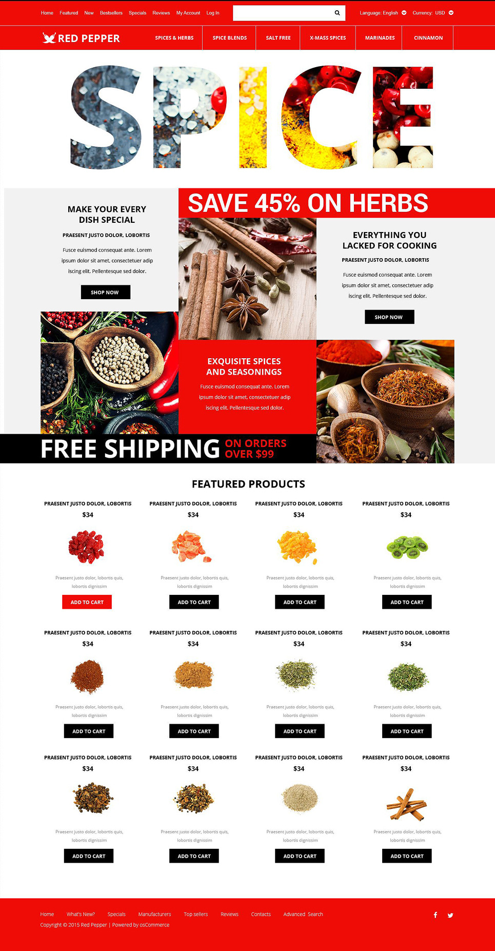 Spice Store OsCommerce Template New Screenshots BIG