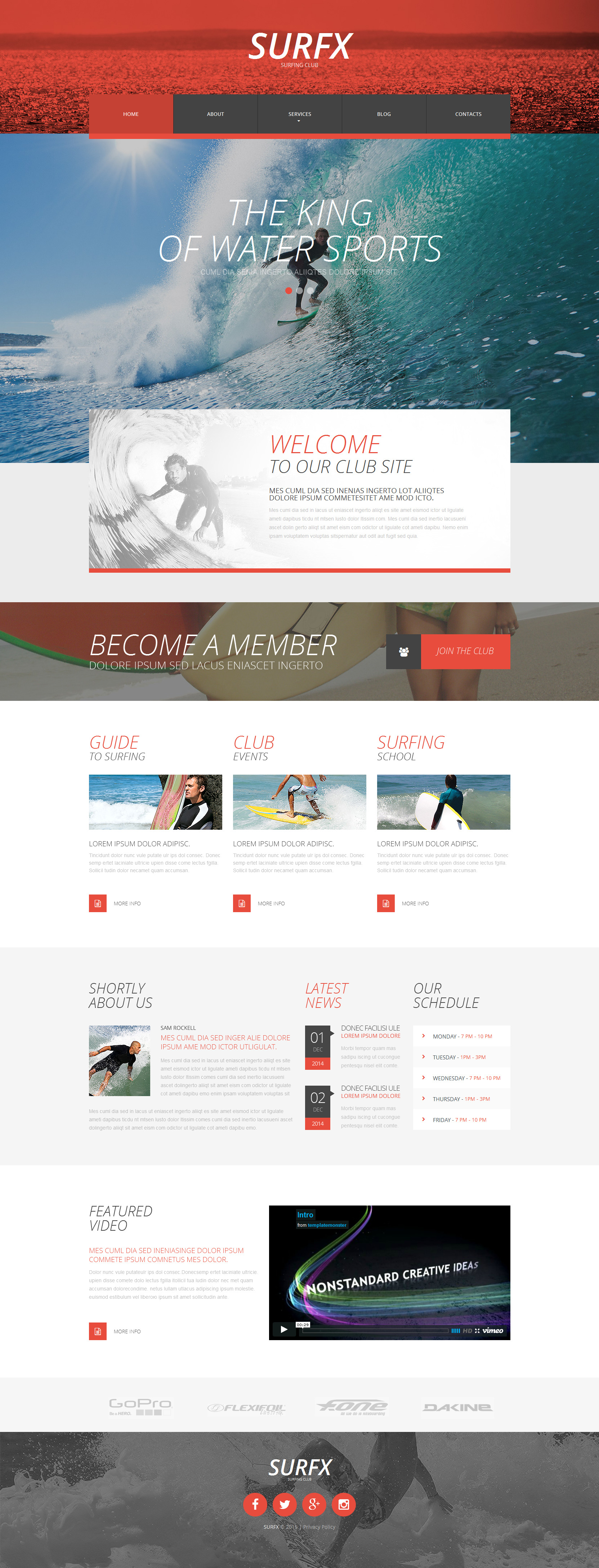 Surfing Club Website Template