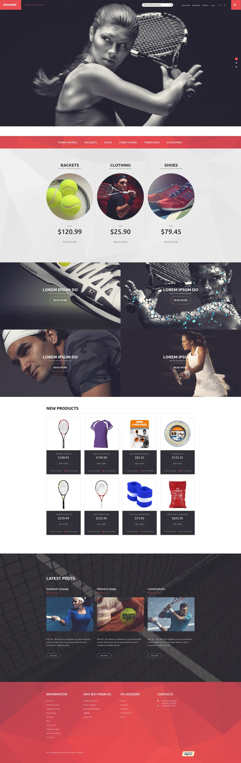 Tennis Equipment Magento Theme New Screenshots BIG
