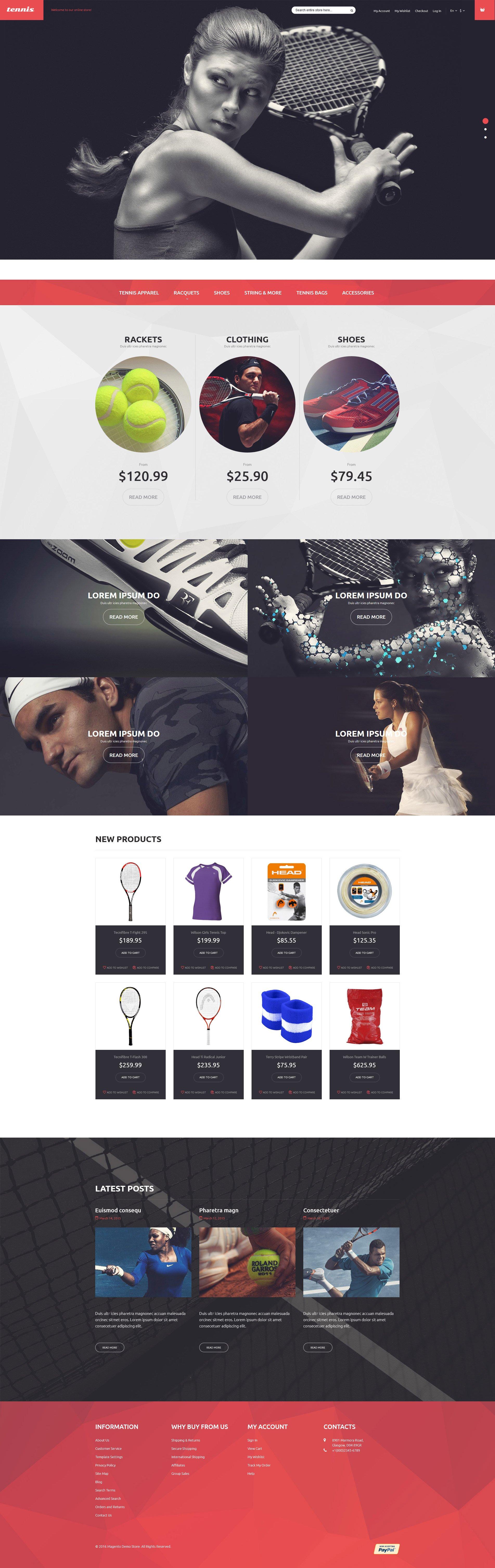 Tennis Equipment Magento Theme - screenshot