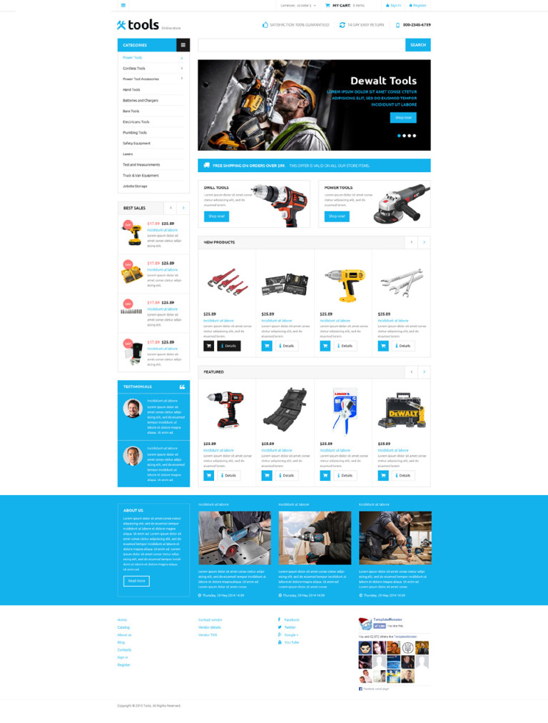 Tools Store VirtueMart Template New Screenshots BIG