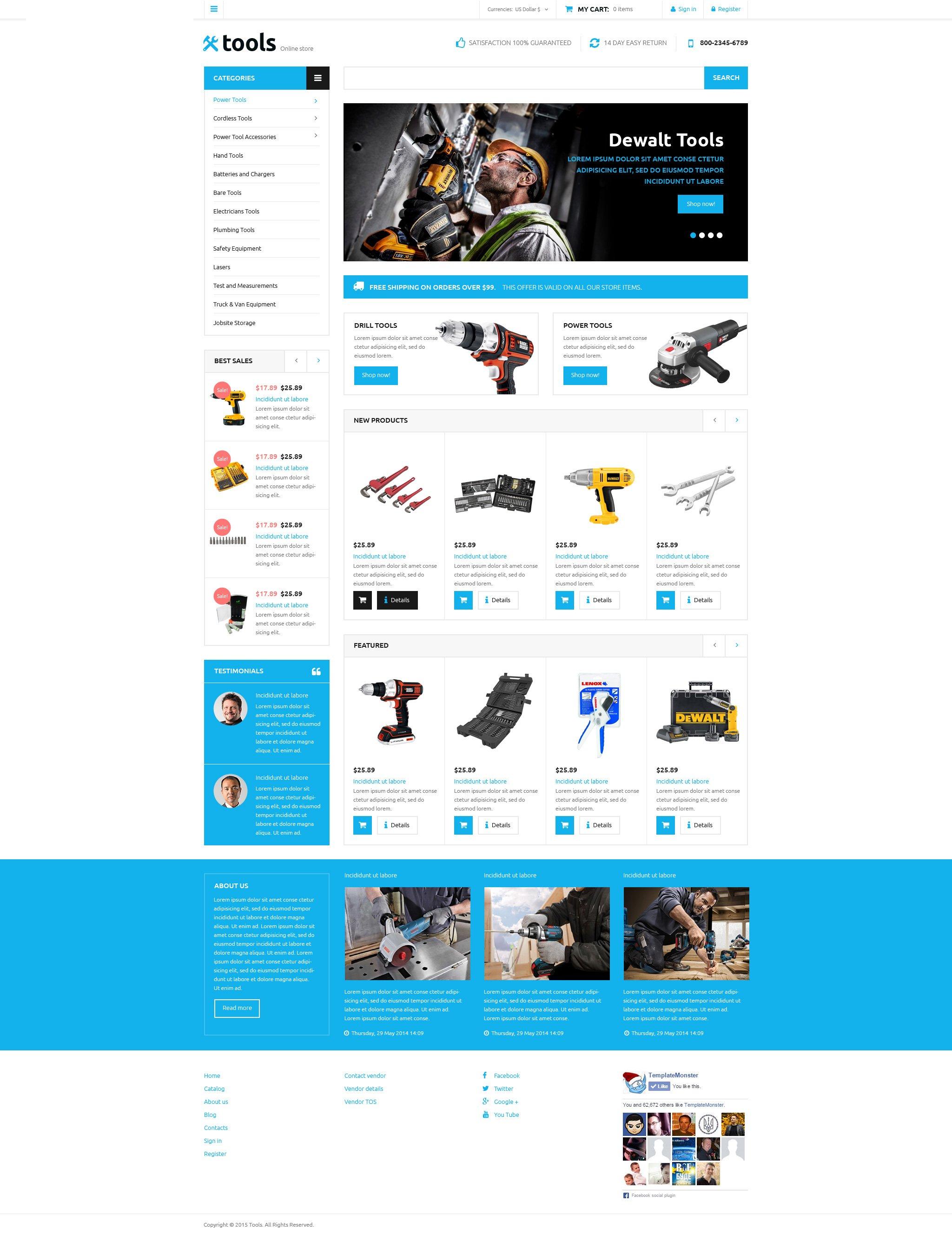 Tools Store VirtueMart Template - screenshot