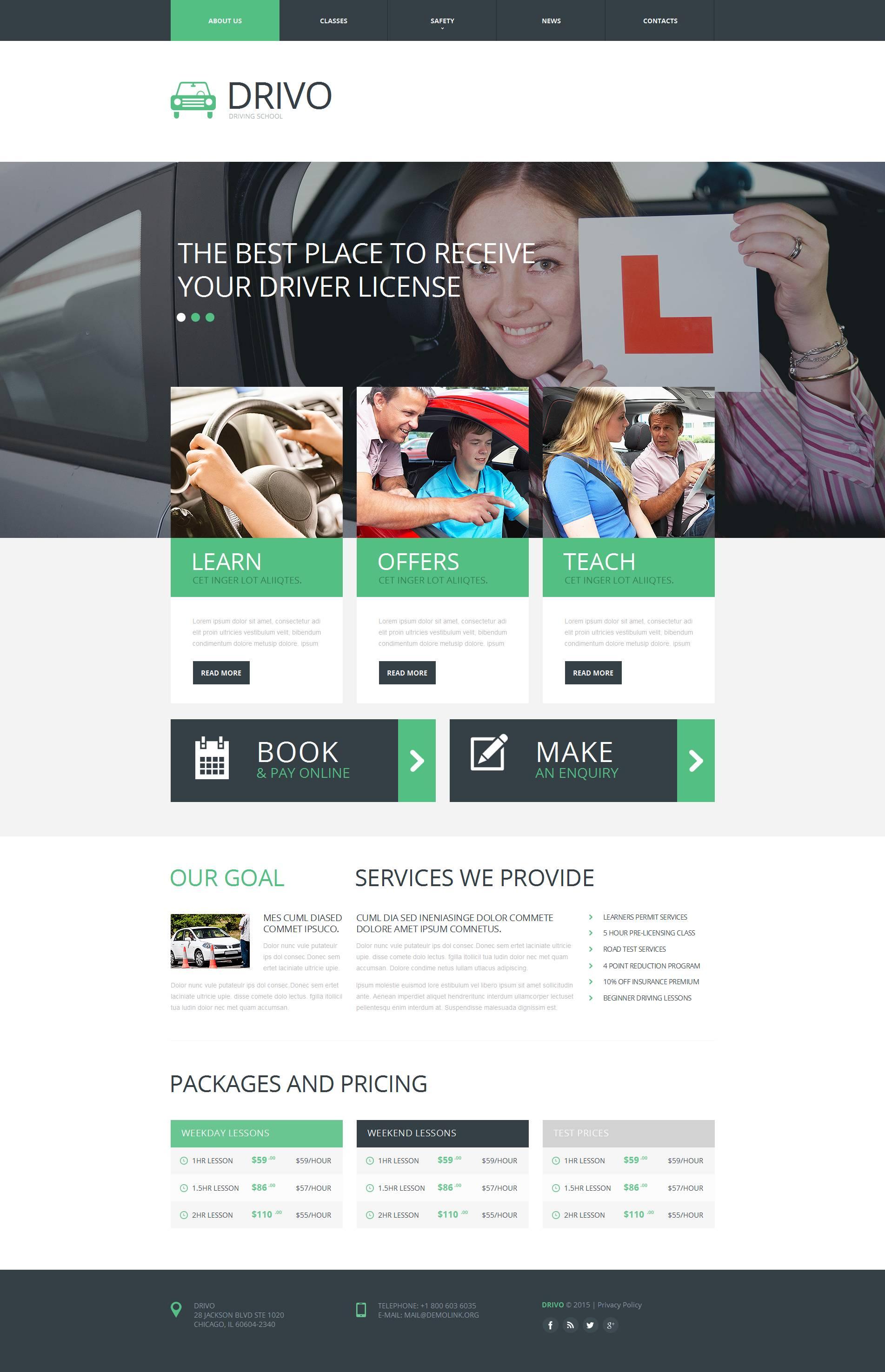 Traffic School Moto CMS HTML Template