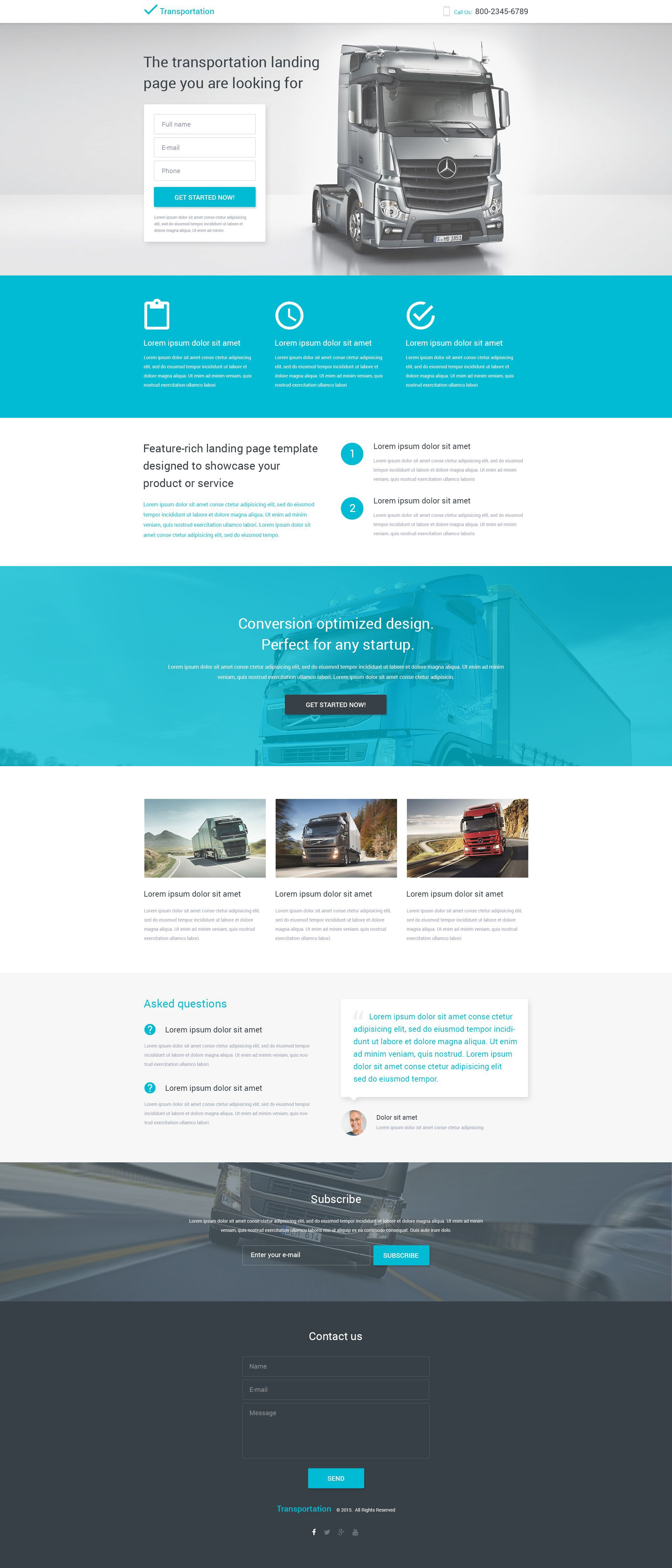 Transportation Responsive Landing Page Template