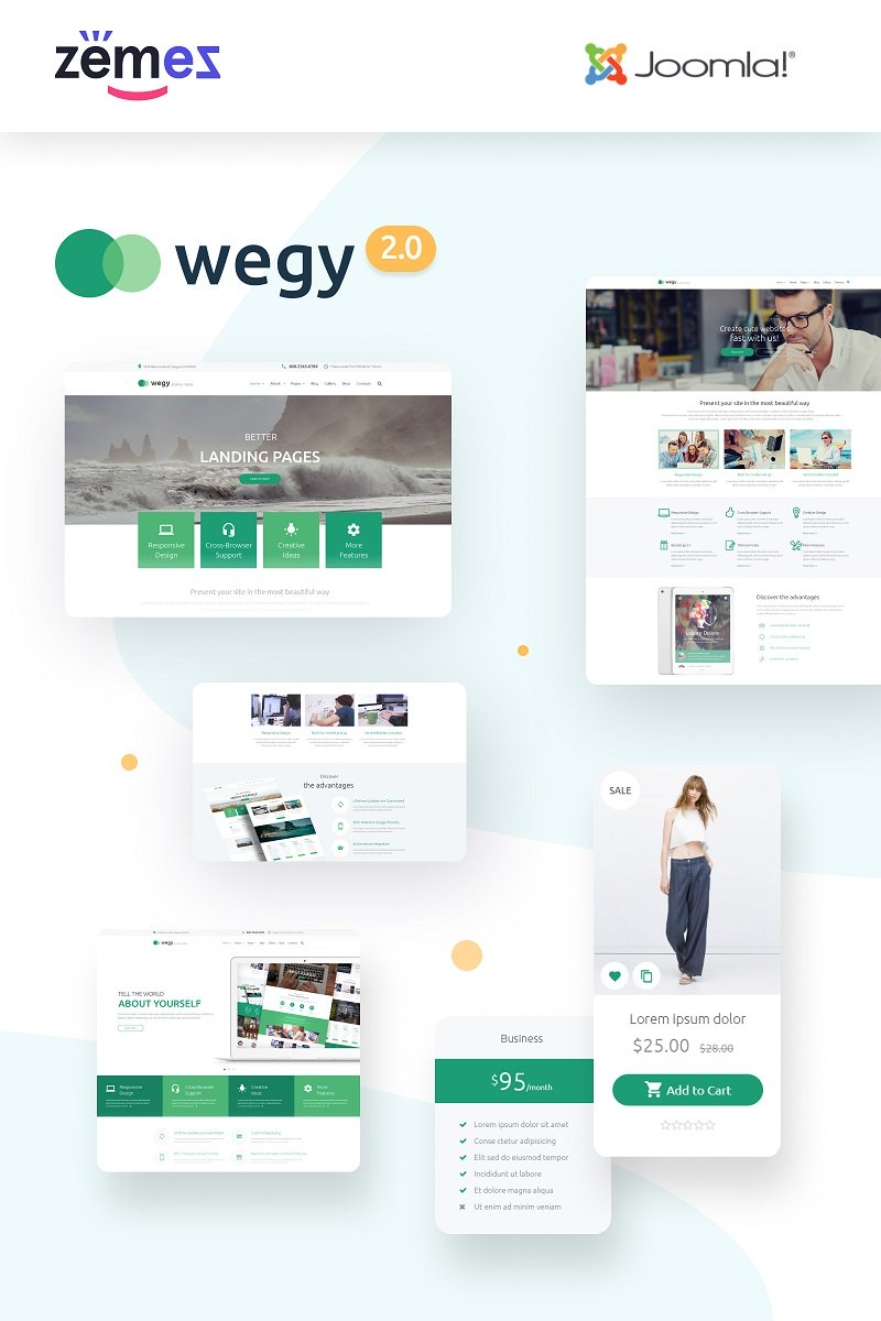 """Wegy - Multipurpose Business"" - адаптивний Joomla шаблон №53576"