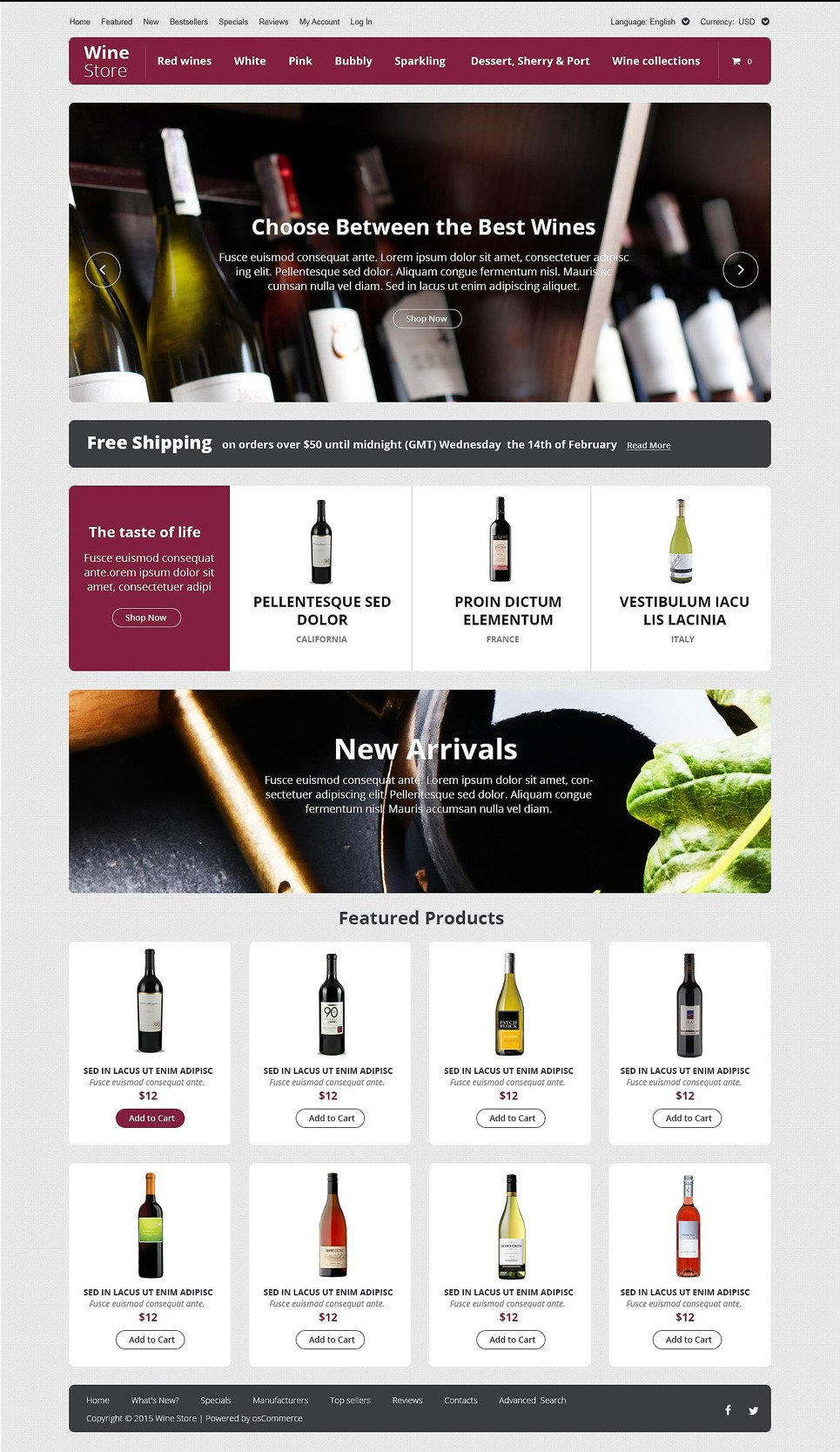 Wine Store OsCommerce Template New Screenshots BIG