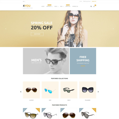 4You Sunglass Store - Shopify Template based on Bootstrap