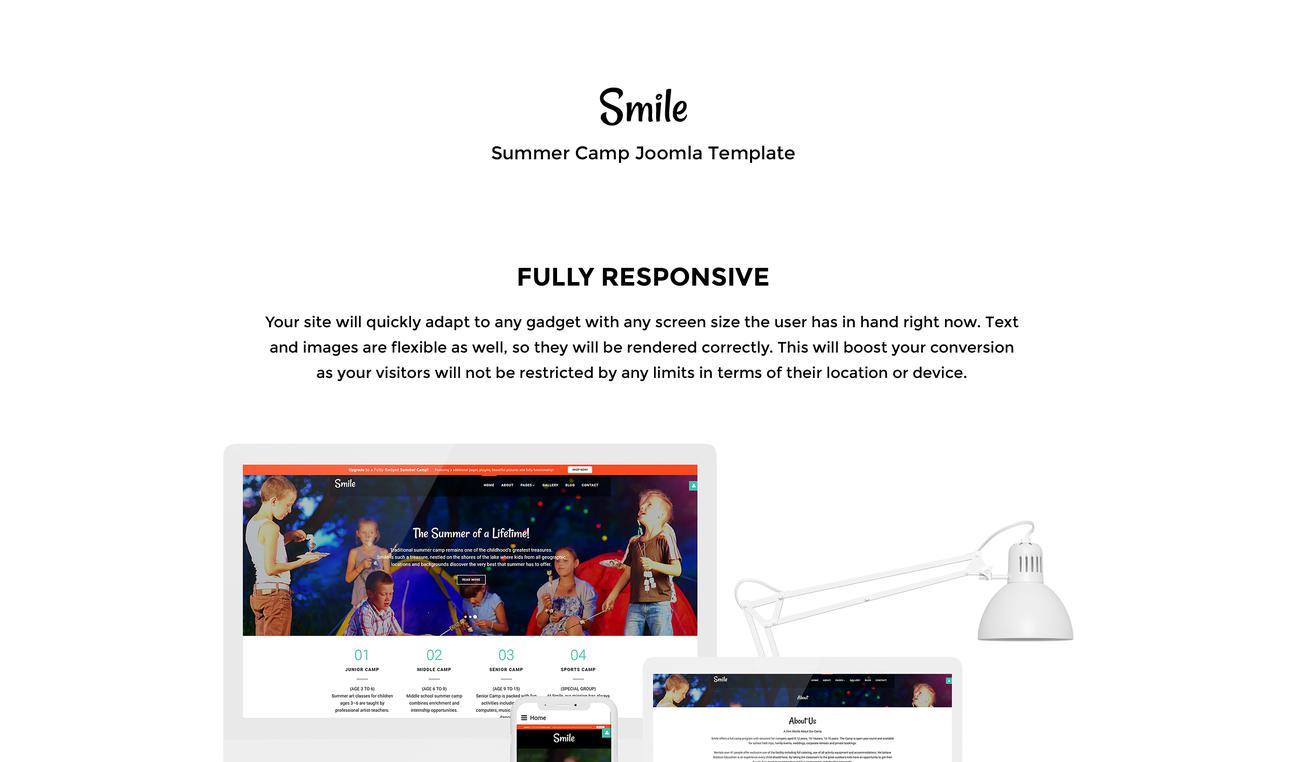 Smile - Summer Camp Free Joomla Template #53603