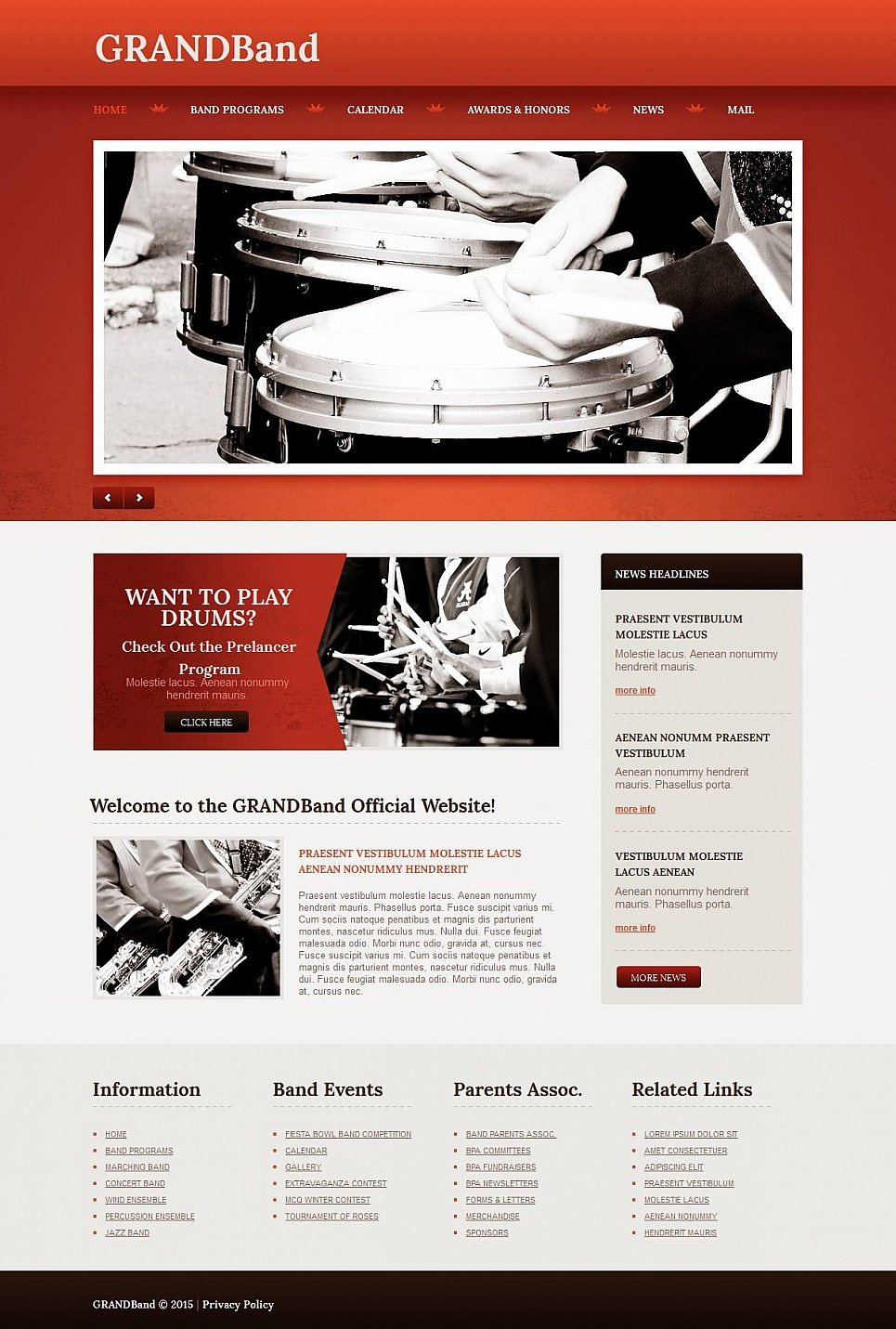 Drum Band Website Template with CMS - image