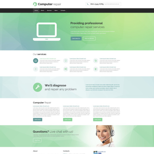 Computer Repair - Website Template based on Bootstrap