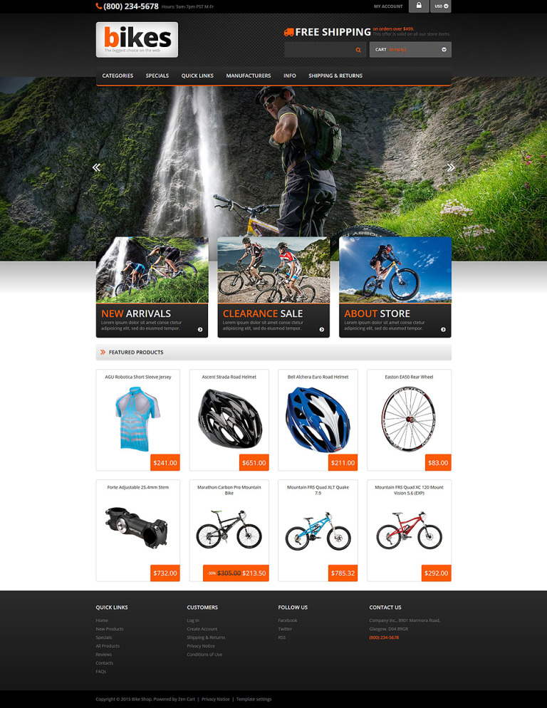 Cycling Responsive ZenCart Template New Screenshots BIG