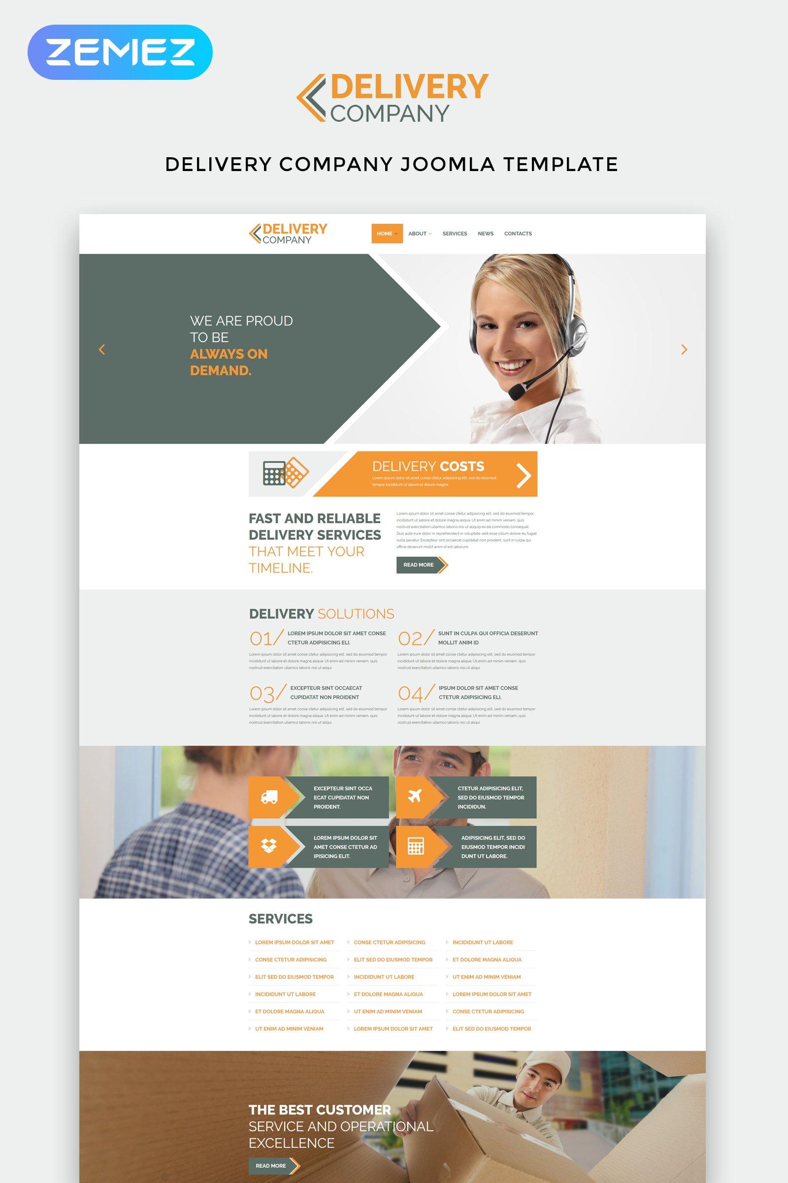"""""""Delivery Company - Delivery Services Clean"""" thème Joomla adaptatif #53693"""