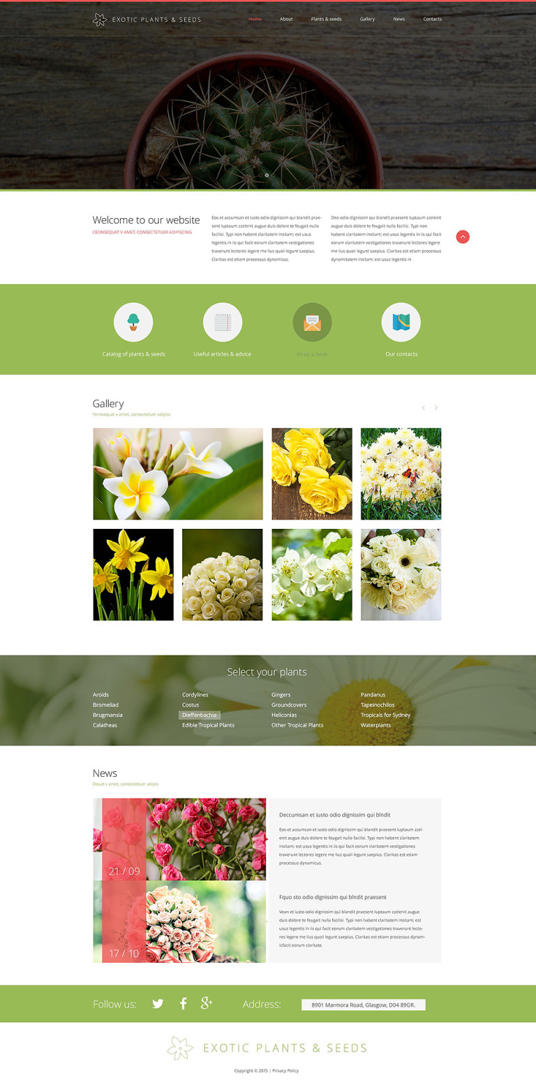 Exotic Plants Website Template New Screenshots BIG