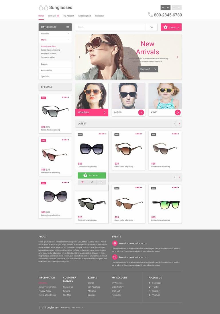 Eyewear OpenCart Template New Screenshots BIG