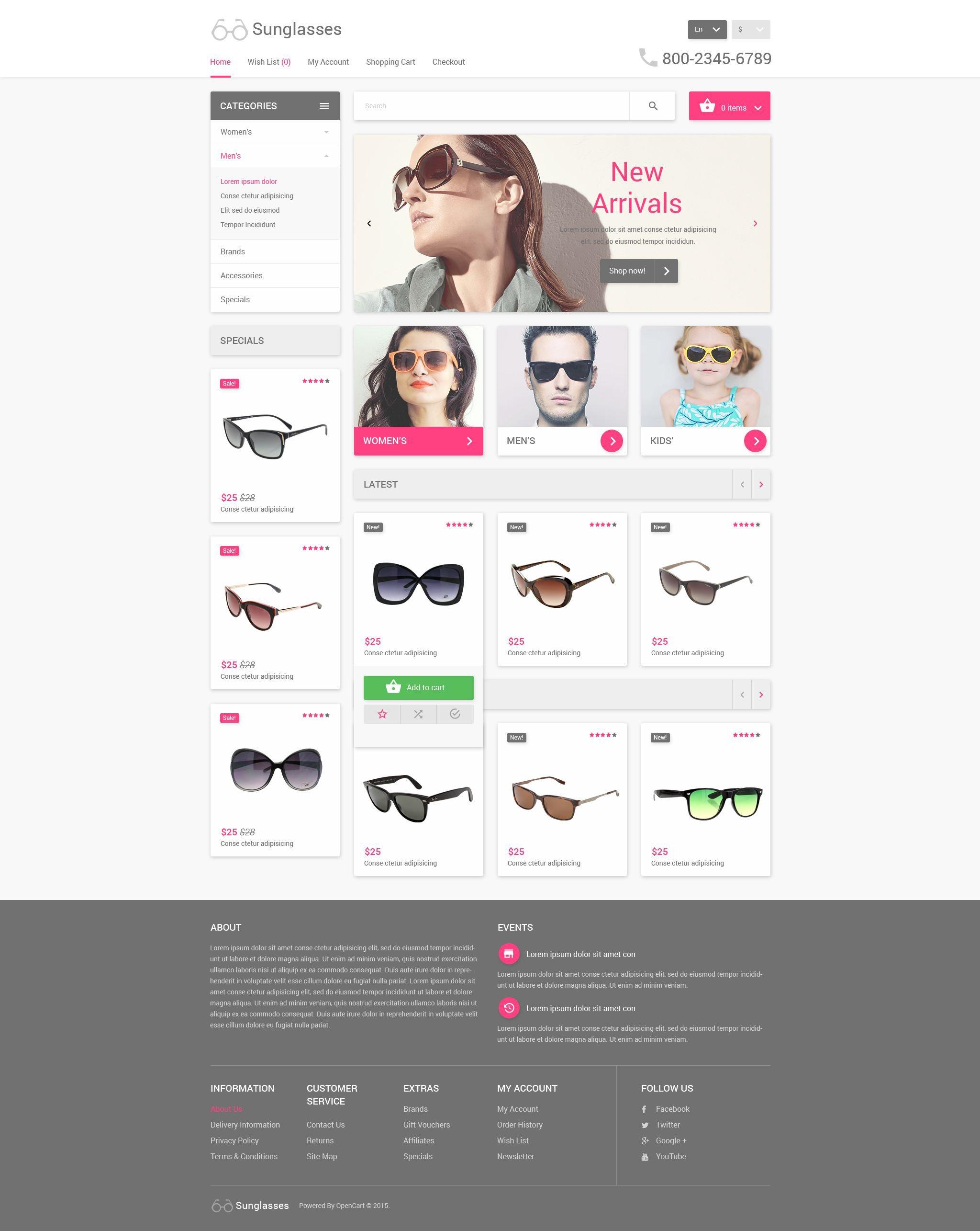 sunglasses store opencart template