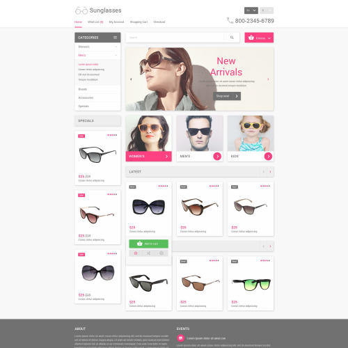 Sunglasses   - OpenCart Template based on Bootstrap