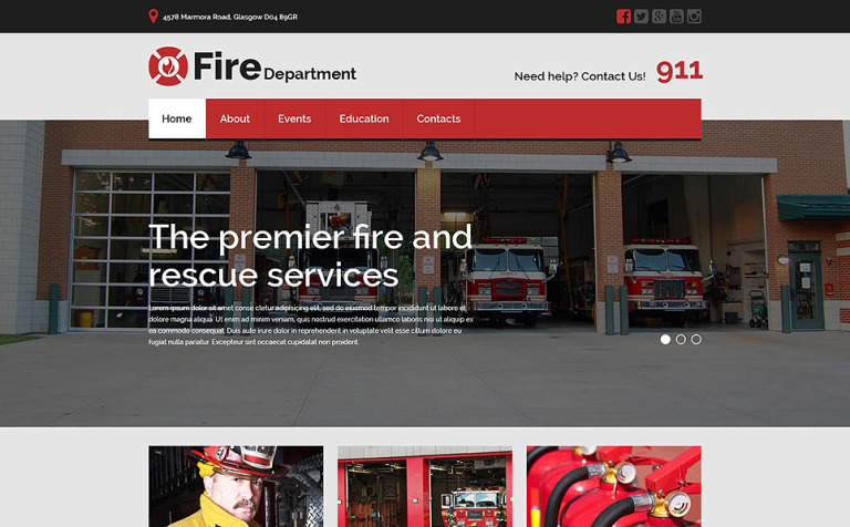 Fire Department Responsive Website Template New Screenshots BIG