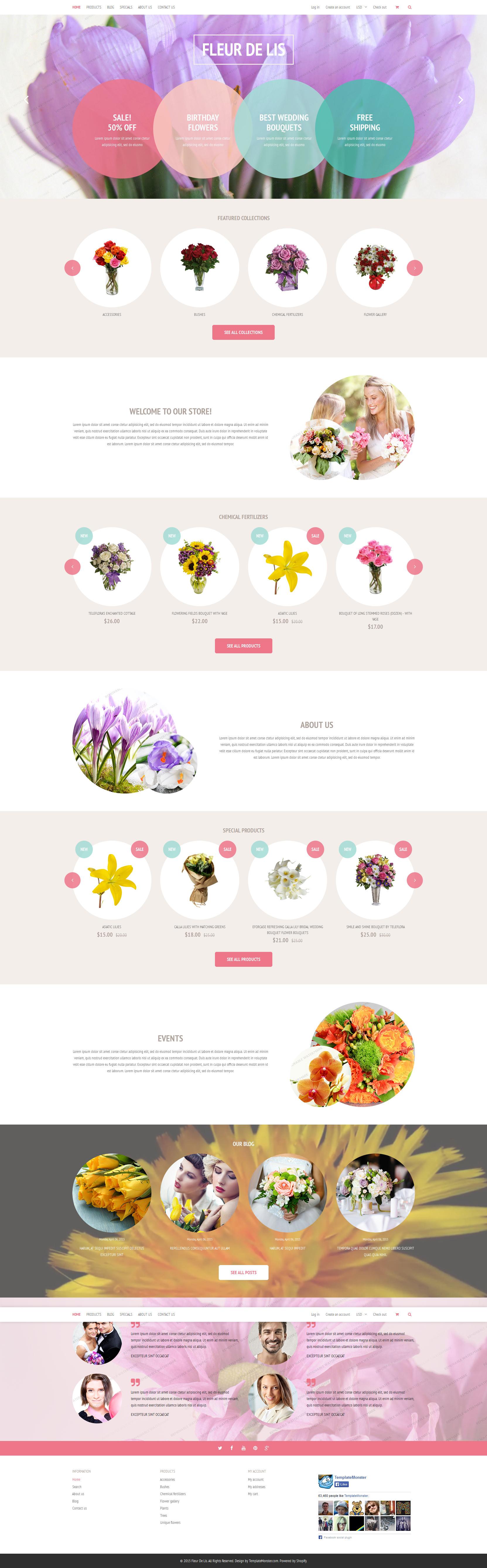 """""""Fleur de lis Shopify Theme"""" Responsive Shopify Thema №53602 - screenshot"""
