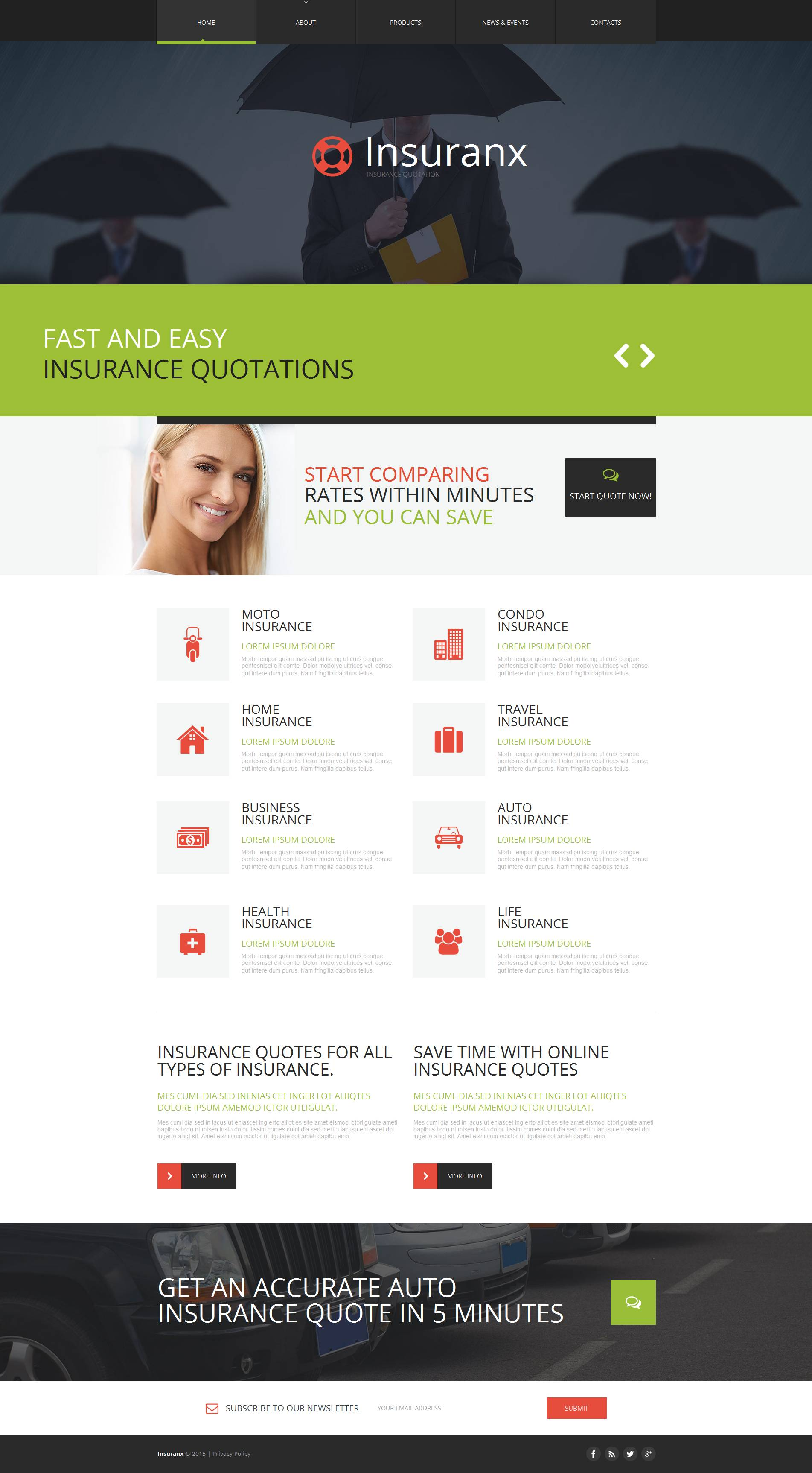 Insurance Moto CMS HTML Template