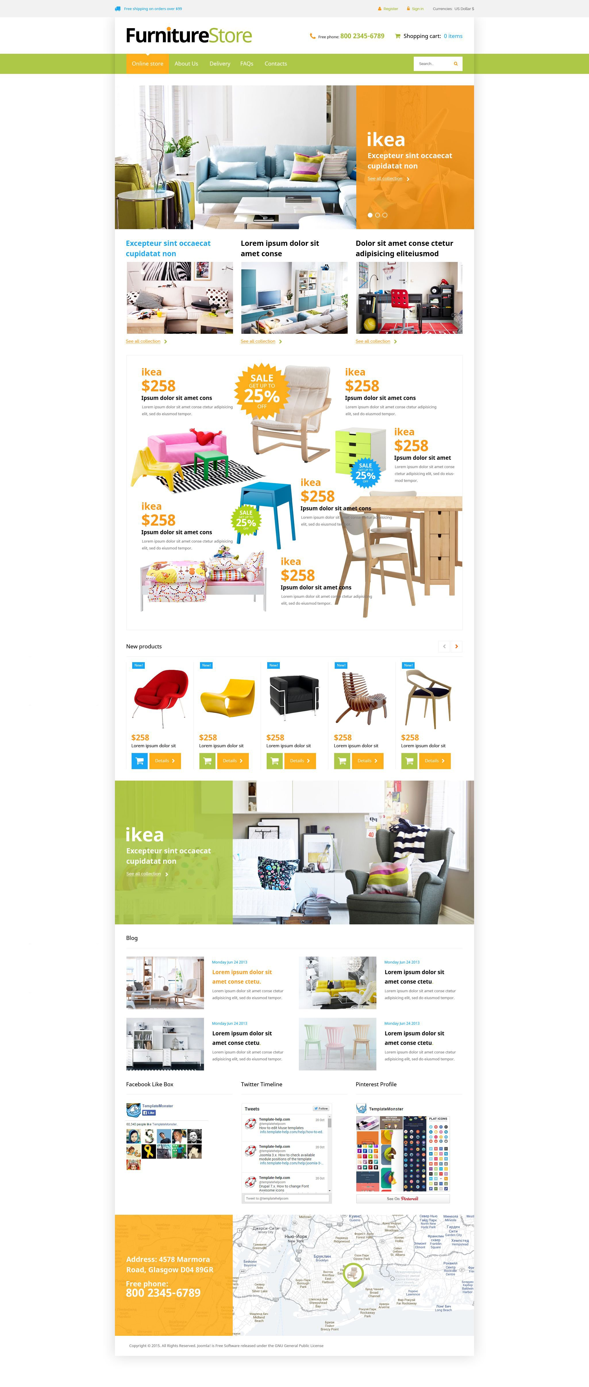"""Interior Furniture"" VirtueMart Template №53640"